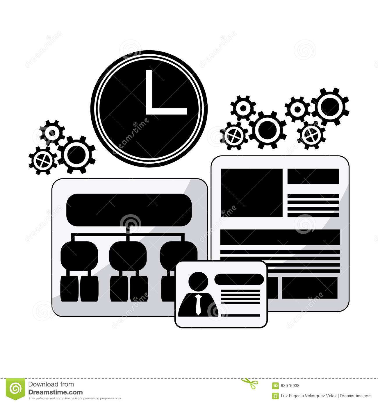 Download Conception De Processus D'icônes Illustration de Vecteur - Illustration du collaboration, horloge: 63075938