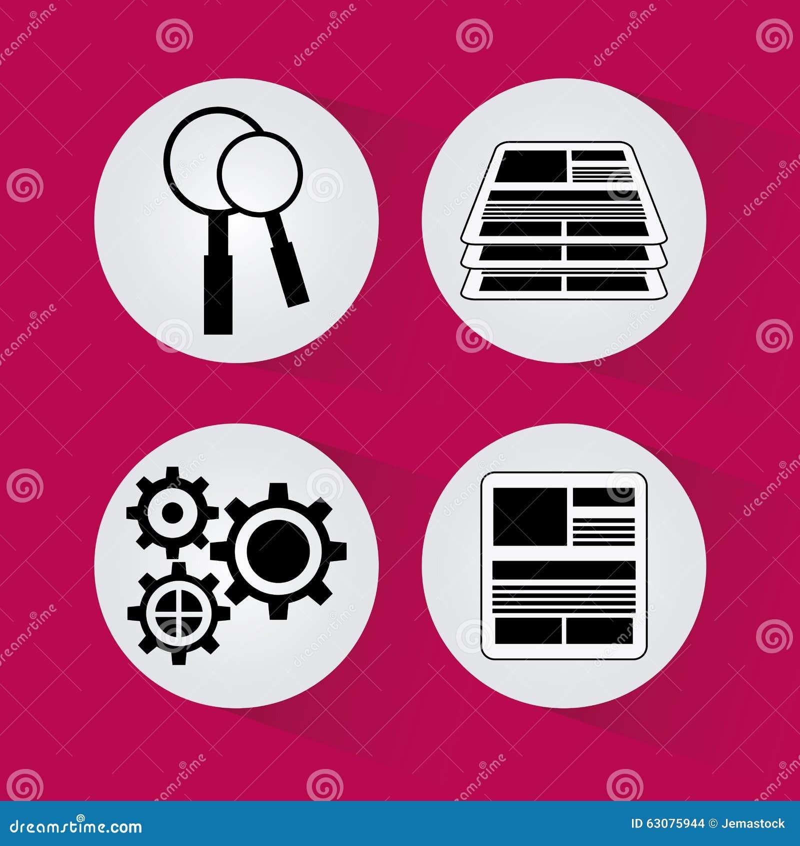 Download Conception De Processus D'icônes Illustration de Vecteur - Illustration du enjeu, intelligent: 63075944