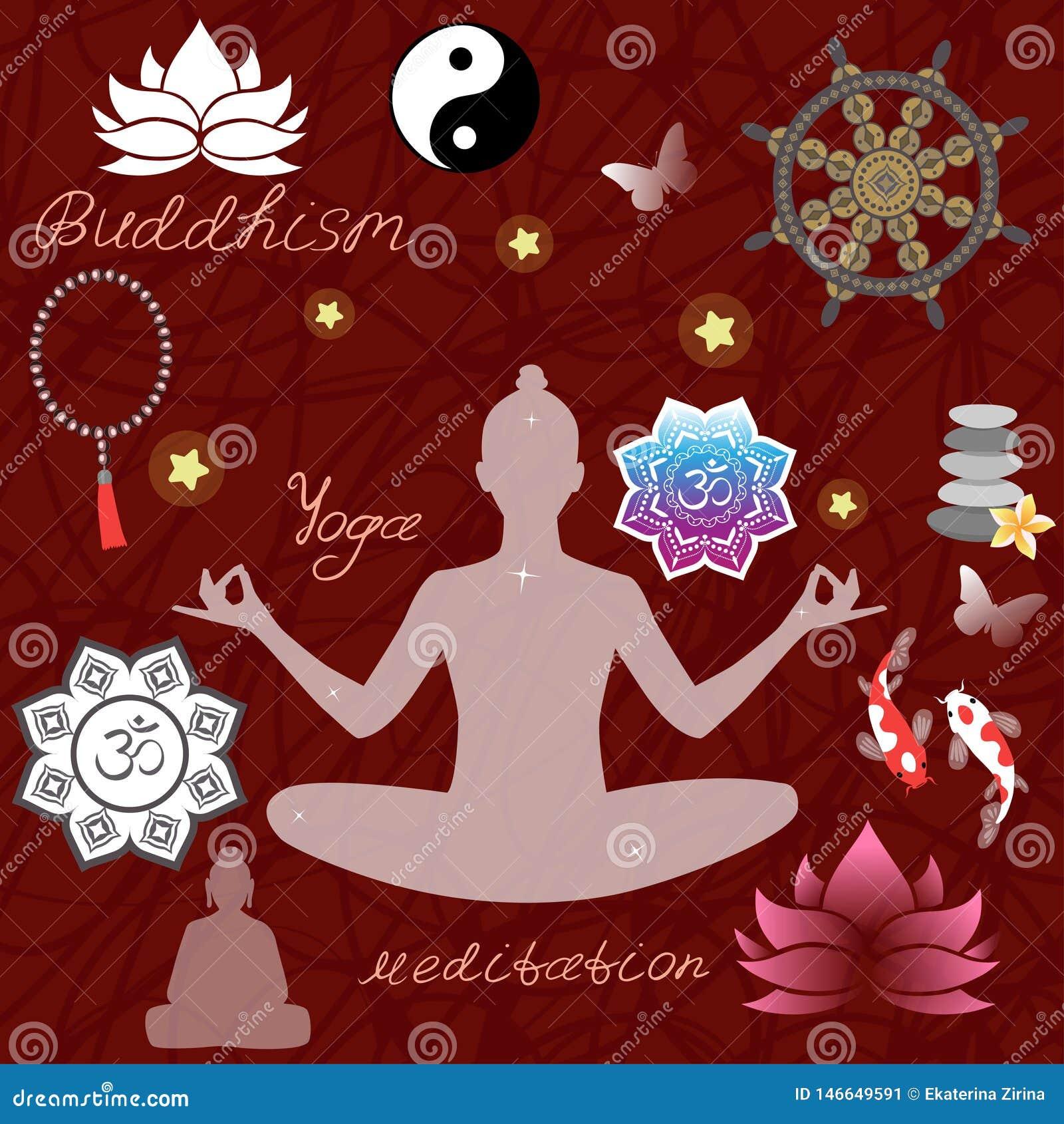 Conception de religion de bouddhisme avec des symboles saints, Femme en position de lotus, carpe de koi, chapelet