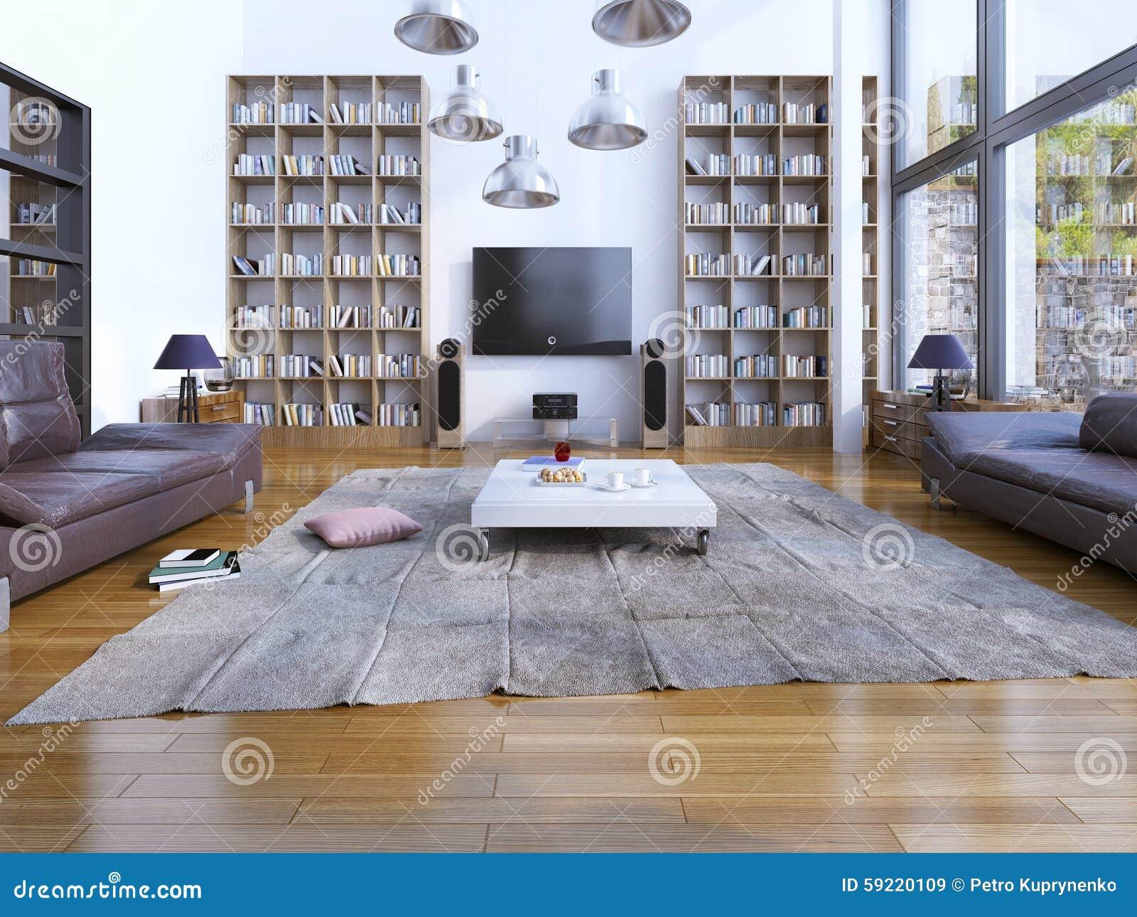 79fe06eab31ffc Conception De Salon Spacieux Avec Les Fenêtres Panoramiques Image ...