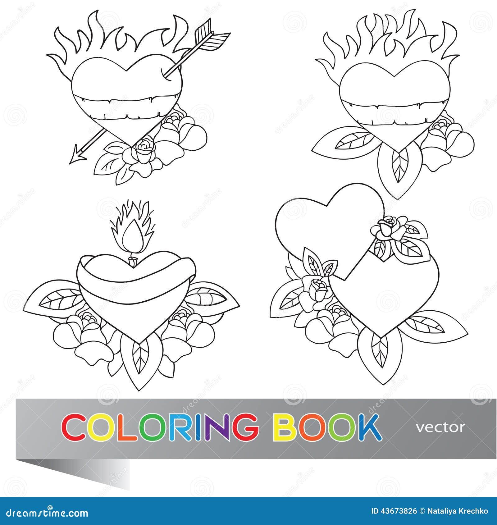 Conception De Tatouage De Coeur Livre De Coloriage