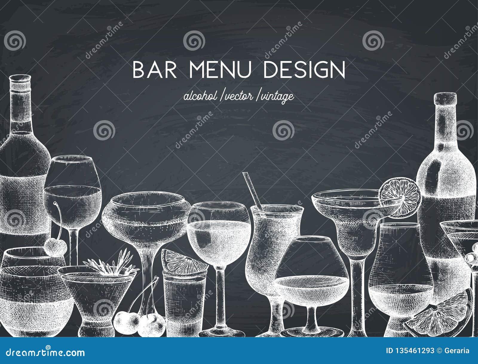 Conception de vecteur avec l illustration tirée par la main de boissons Les boissons de cru esquissent le fond Rétro calibre d is