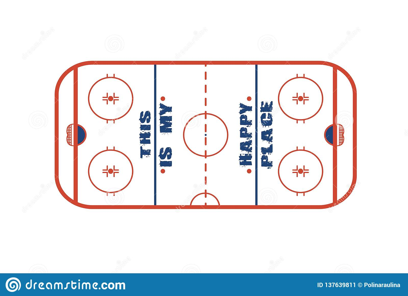 Conception de vecteur de champ de hockey sur glace C est mon endroit heureux