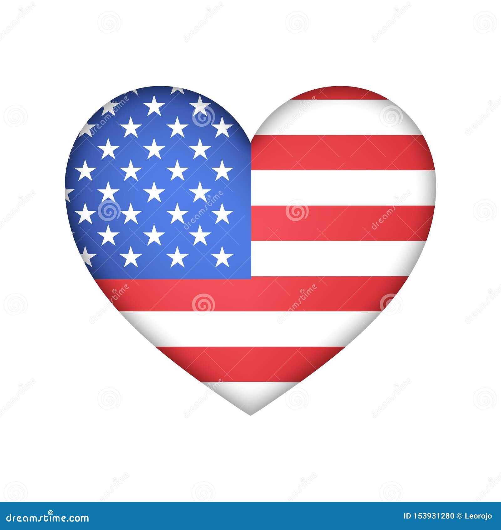 Conception de vecteur des Etats-Unis de drapeau de coeur
