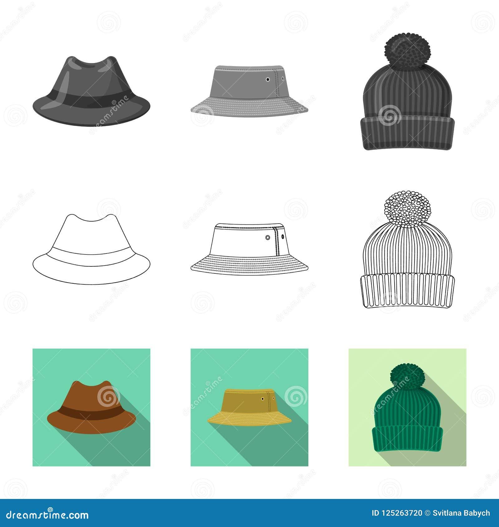 Conception de vecteur de signe de headwear et de chapeau Ensemble d illustration courante de vecteur de headwear et d accessoire