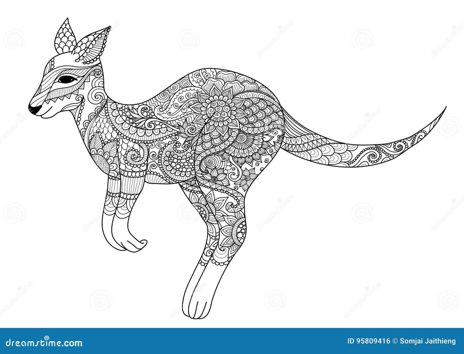 Coloriage Mandala Kangourou.Conception De Zendoodle De Kangourou Sautant Pour L Element De
