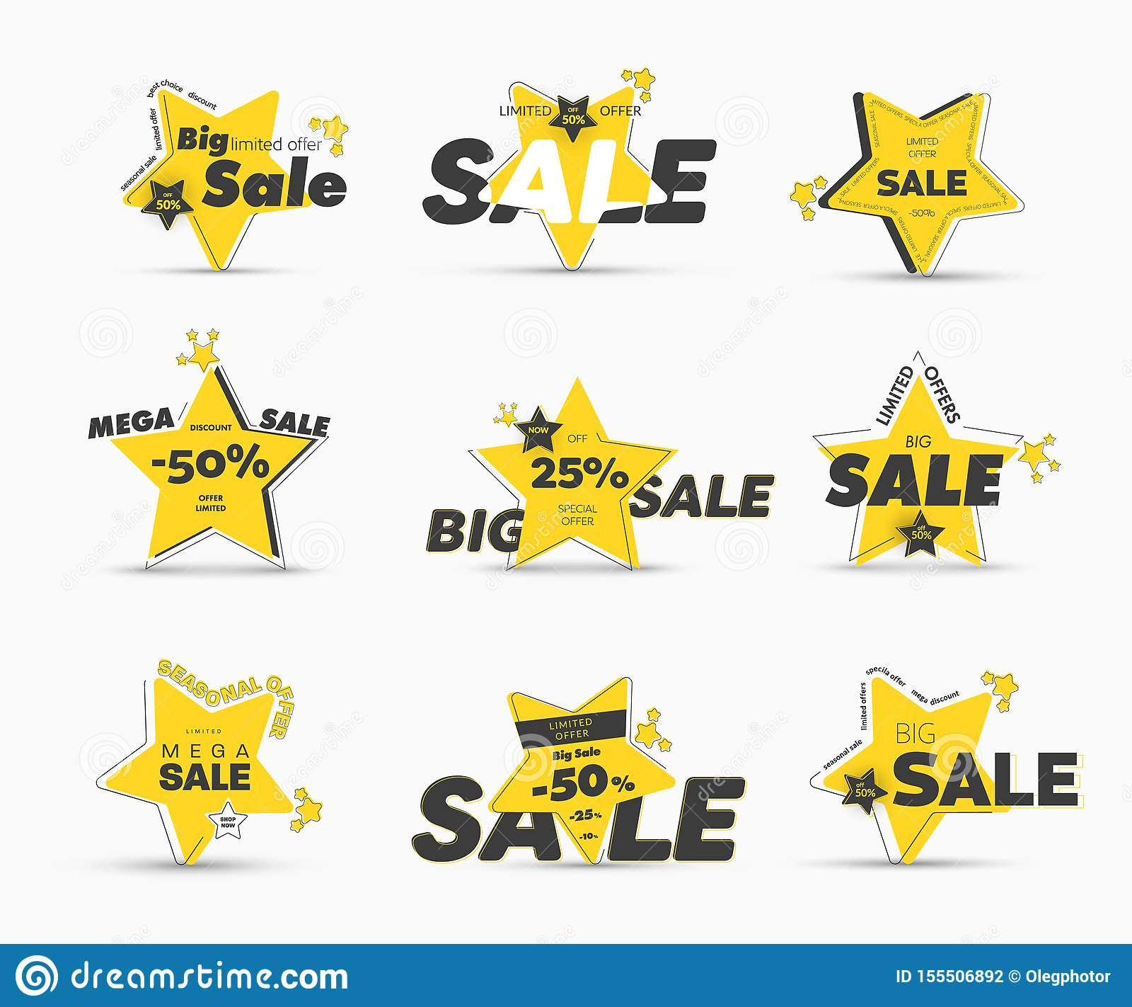 Conception des bannières en forme d étoile jaunes de vecteur avec la course externe asymétrique en grande vente méga