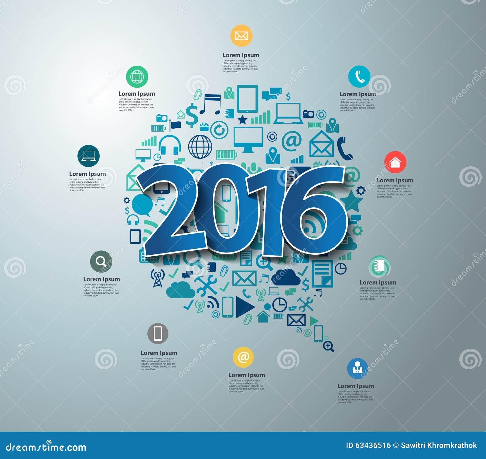 Conception des textes du vecteur 2016 sur les icônes plates d application