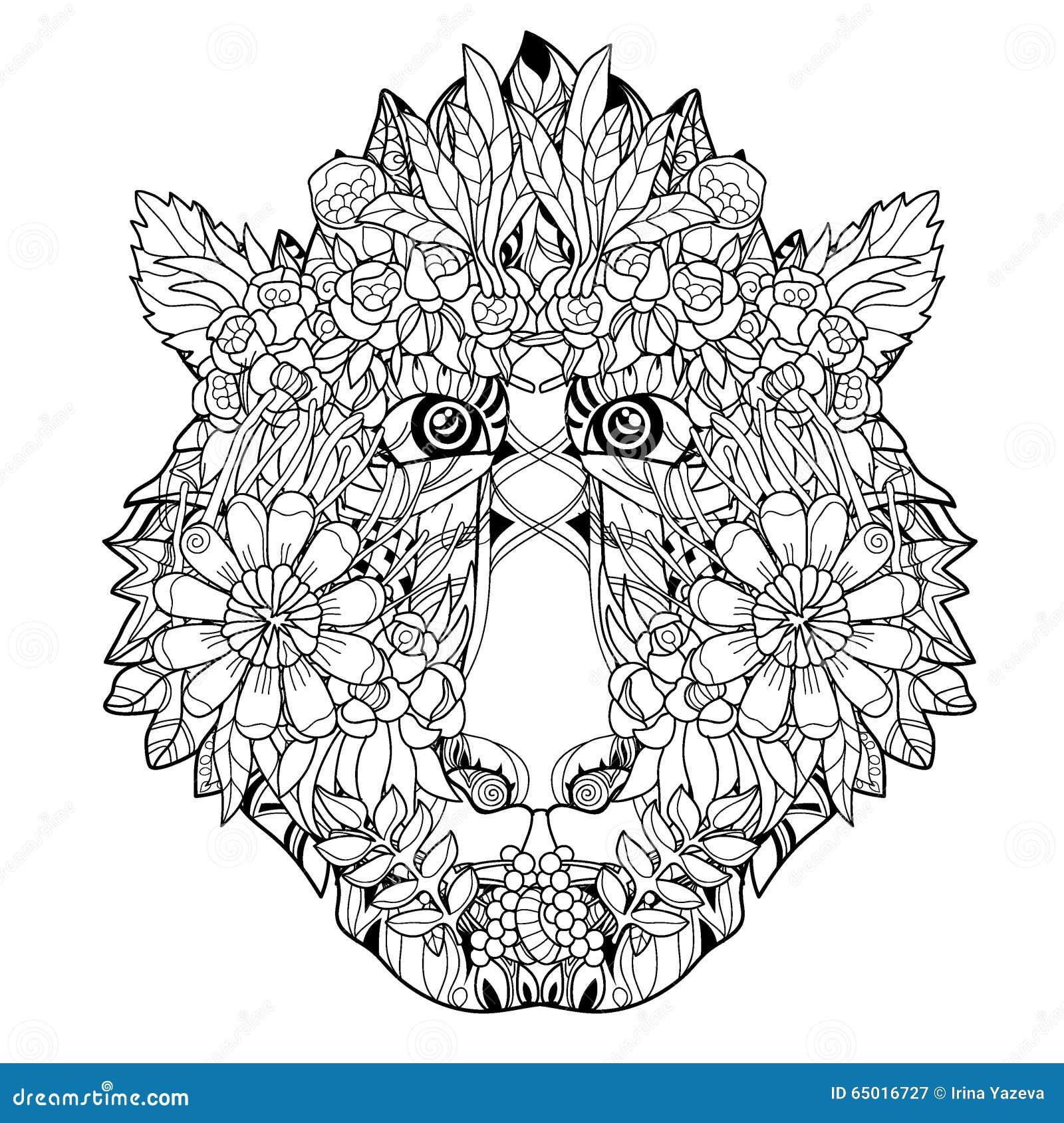 Conception dessin e parmain principale de fleur de singe illustration de vecteur image 65016727 - Coloriage fleur geometrique ...