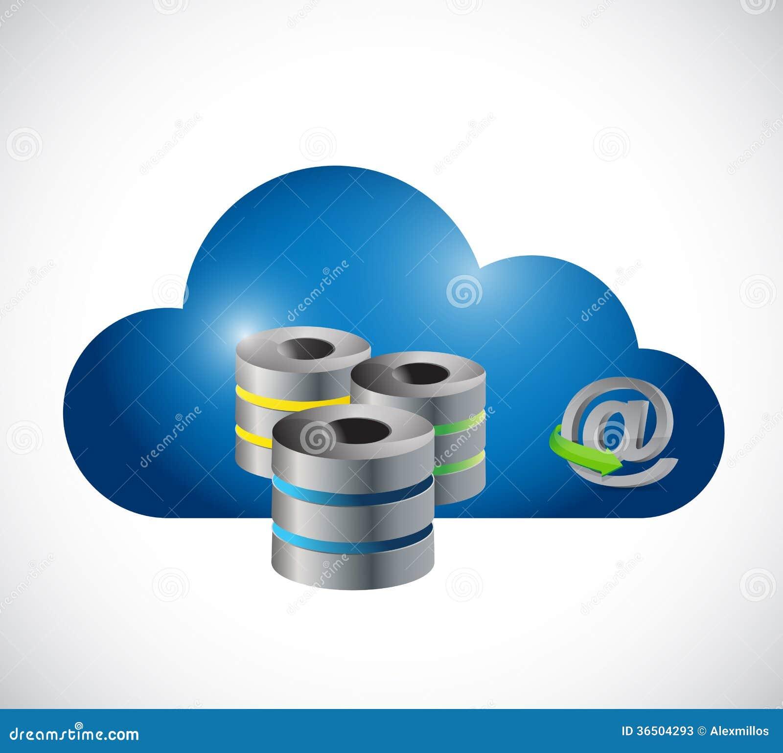Conception en ligne d illustration de serveur de nuage