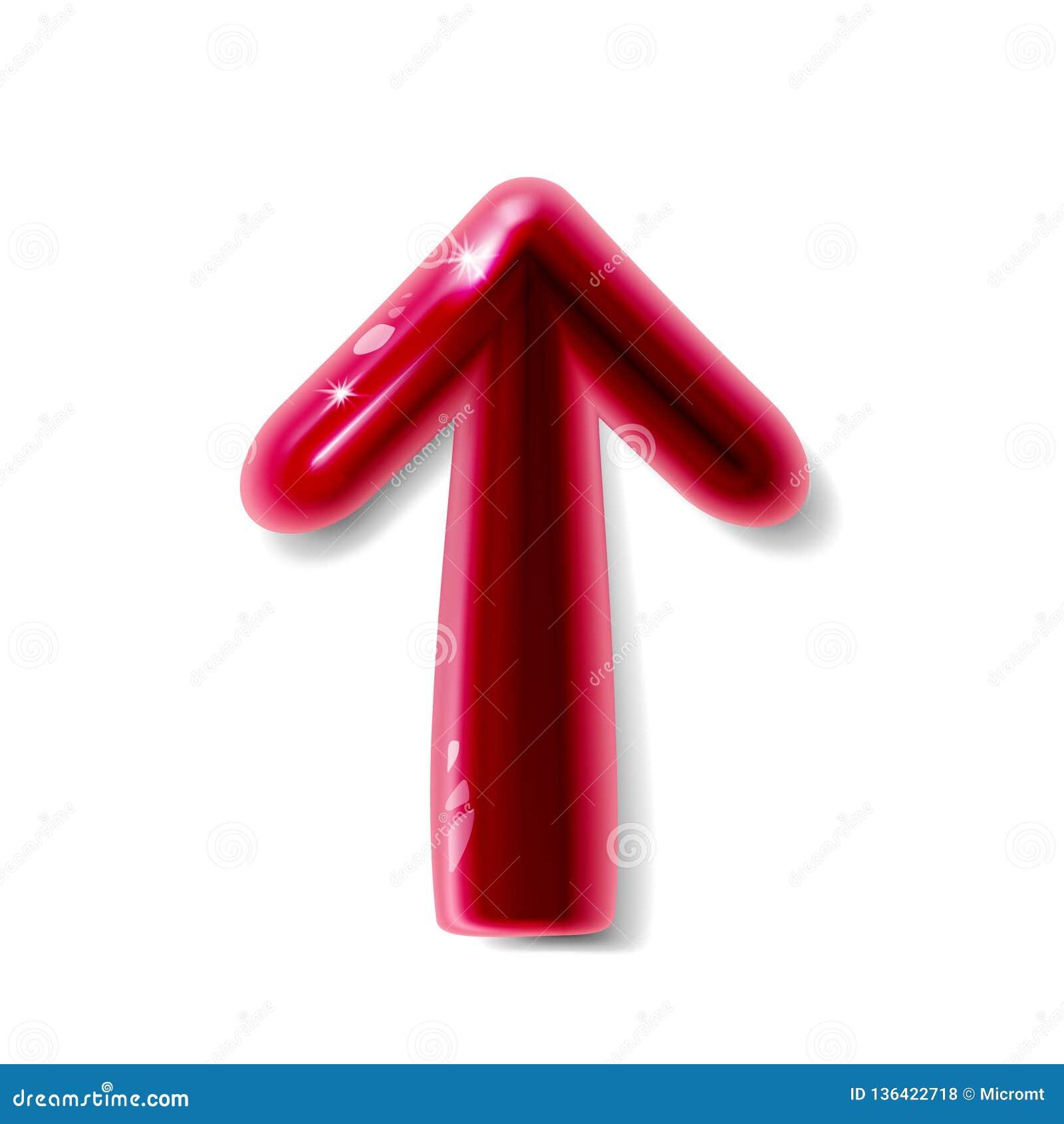 Conception en plastique réaliste brillante rouge de la flèche 3d pour l infographics, le diagramme, le graphique, la présentation