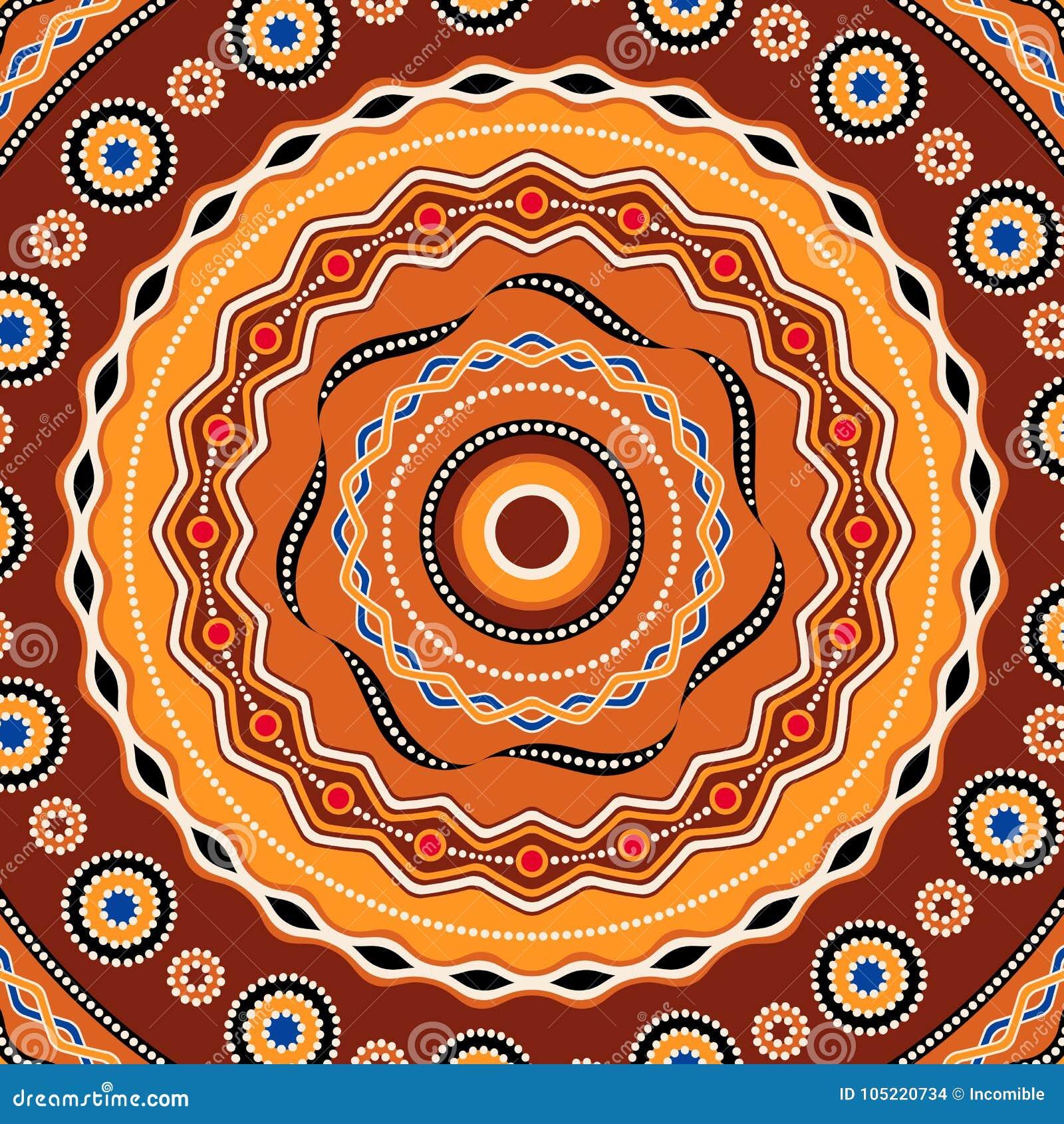 Conception ethnique de fond de cercle Ornement géométrique traditionnel australien