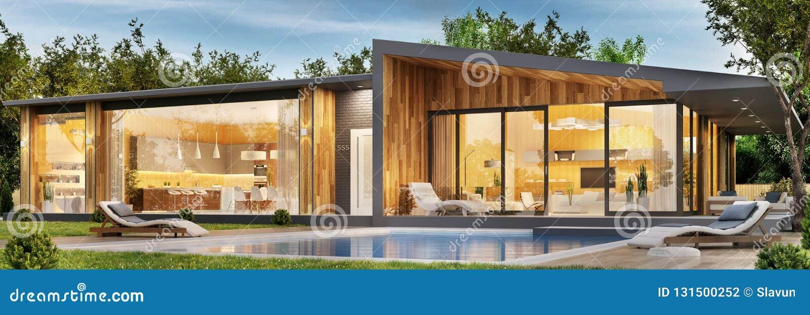 Conception extérieure et intérieure d une maison moderne avec une piscine