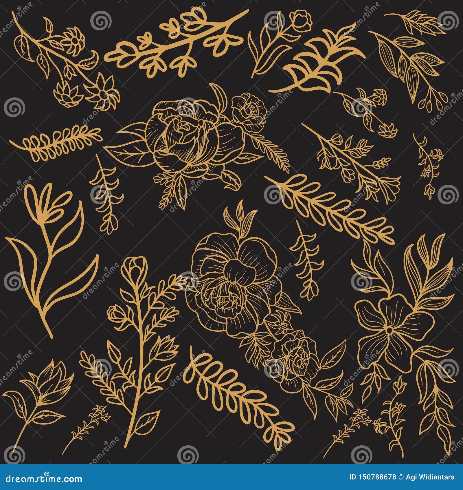 Conception florale de vecteur d or