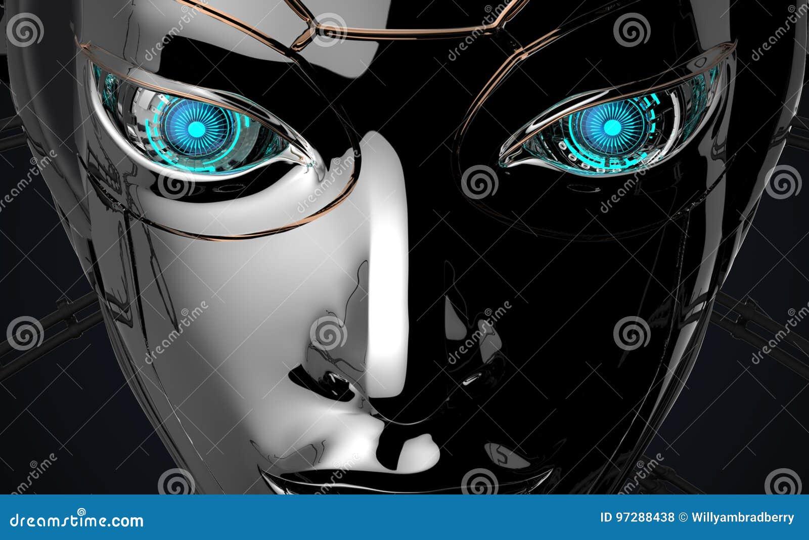Conception futuriste de visage femelle de robot