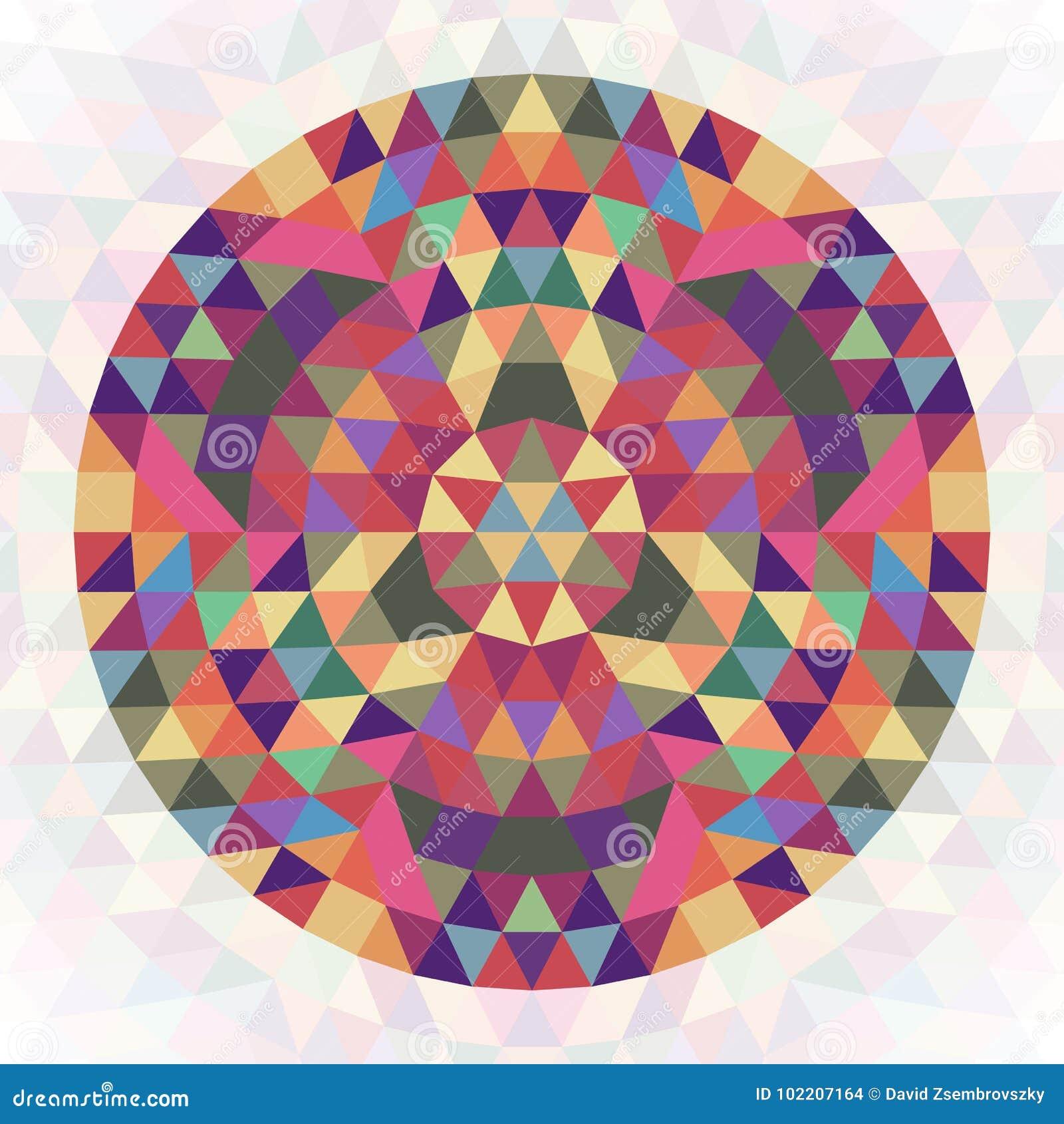 Conception géométrique abstraite circulaire de kaléidoscope de triangle - graphique symétrique de modèle de vecteur des triangles