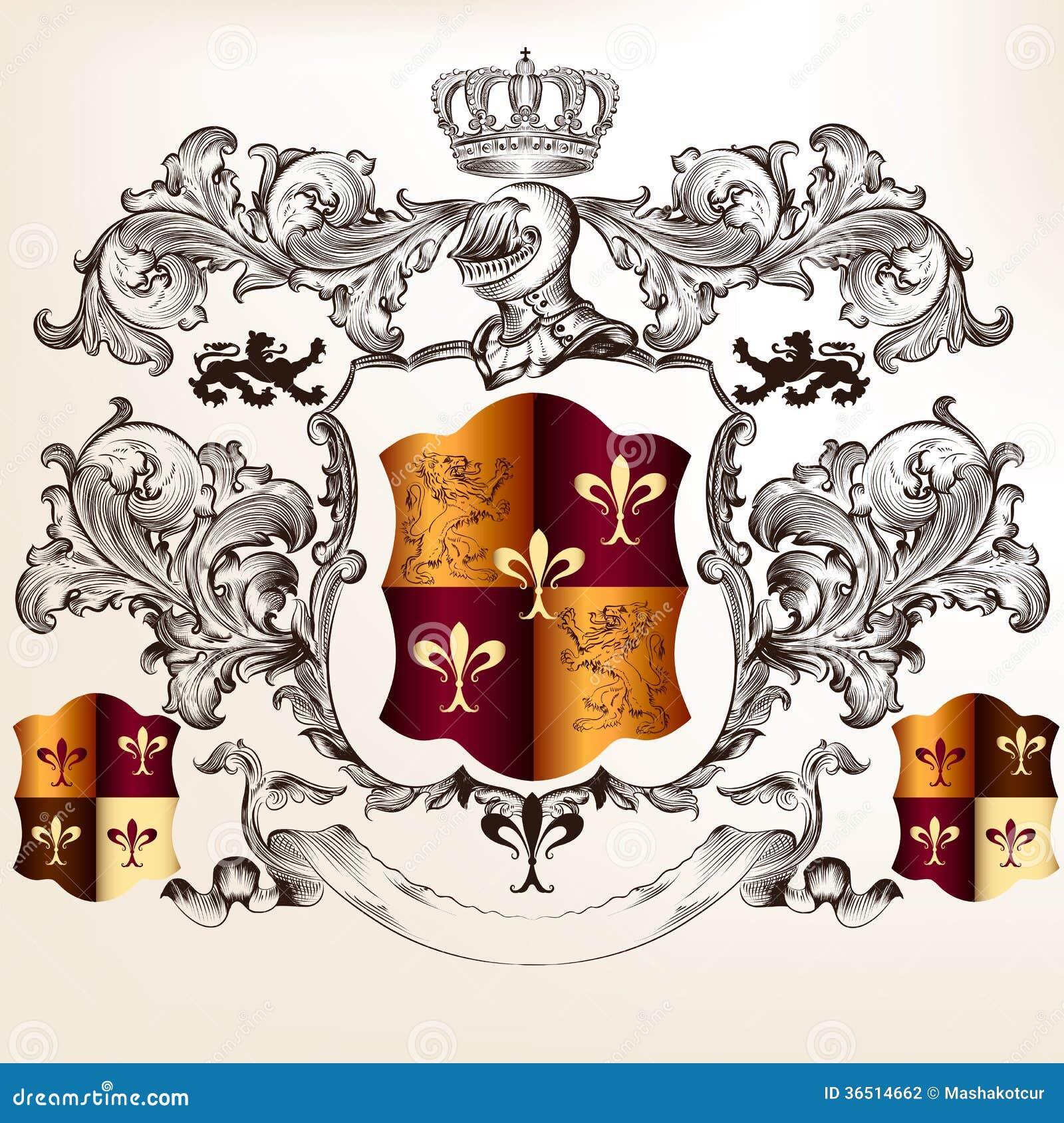 Conception héraldique avec le manteau des bras et du bouclier