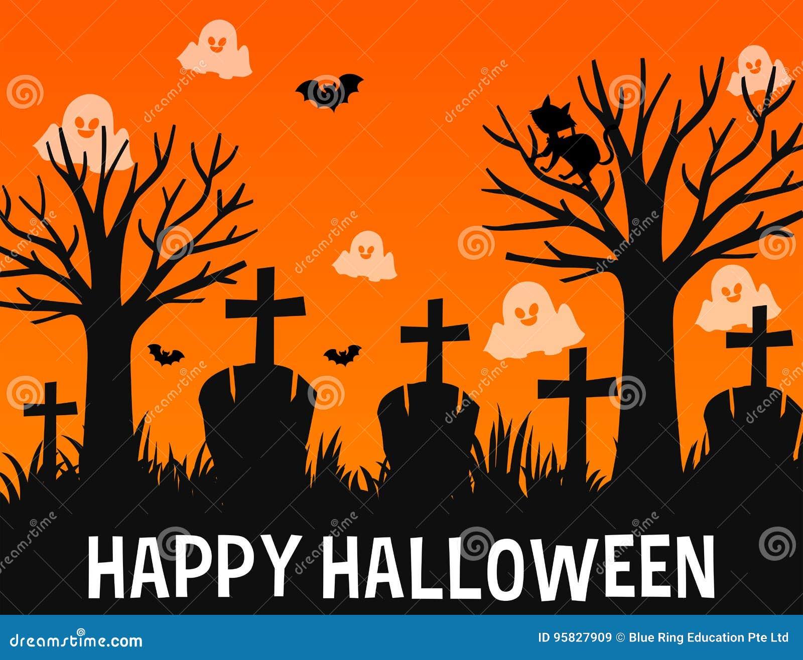 Conception Heureuse D Affiche De Halloween Avec Des Fantômes