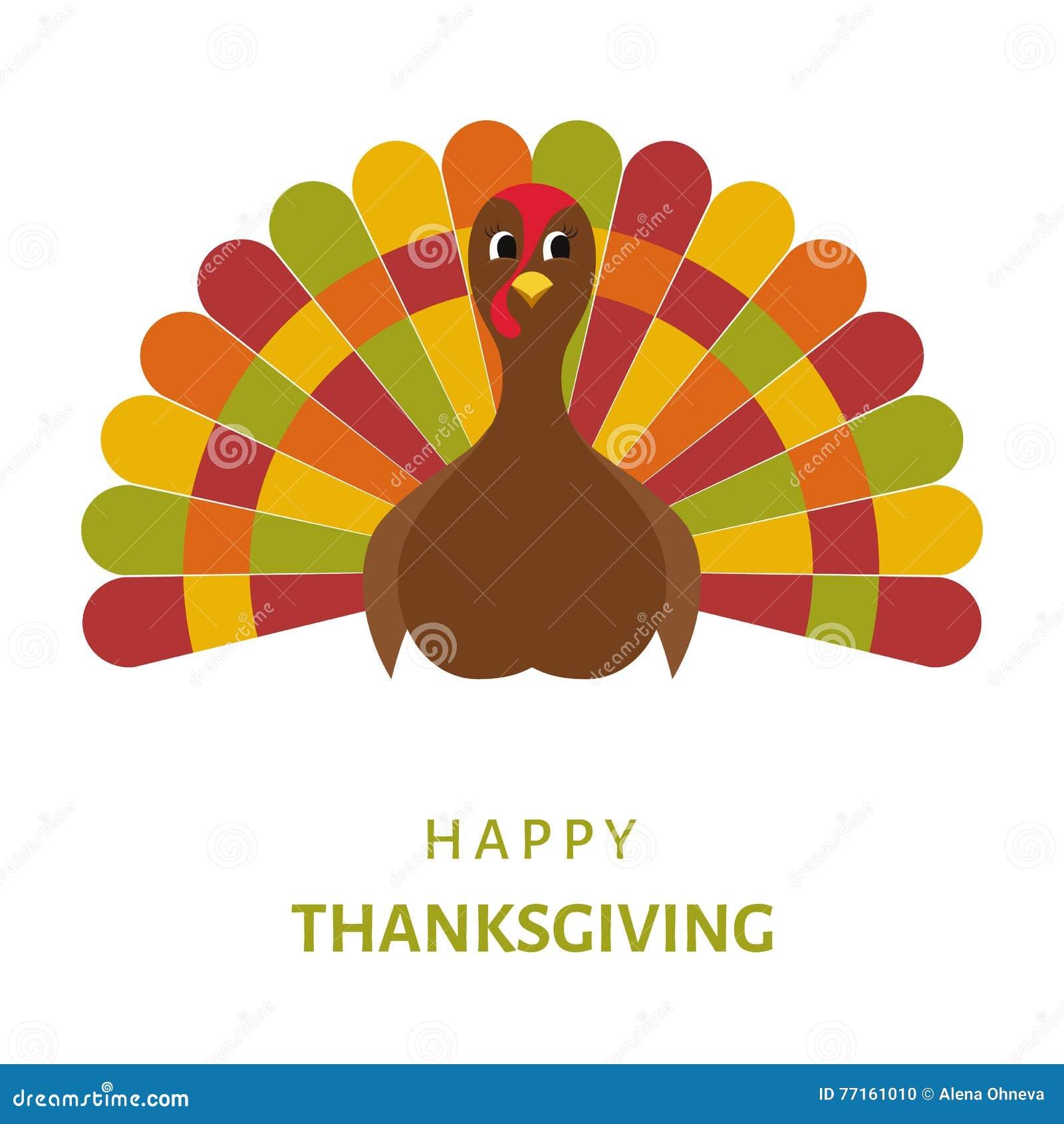 Conception heureuse de célébration de thanksgiving avec du Bi de dinde de bande dessinée
