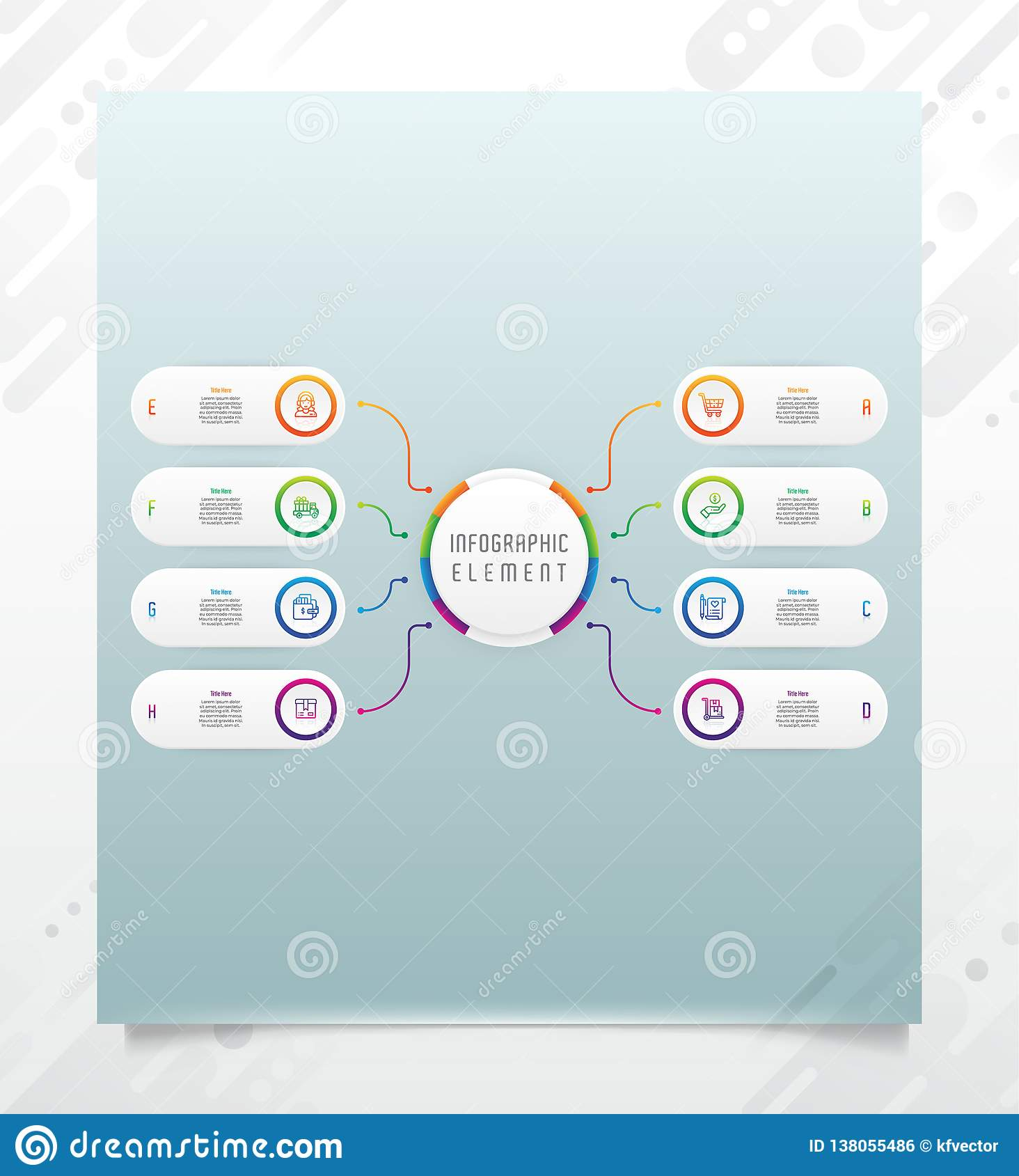 Conception infographic de vecteur d option de cercle avec le style &colorful de 6 options pour le but de présentation L option mo