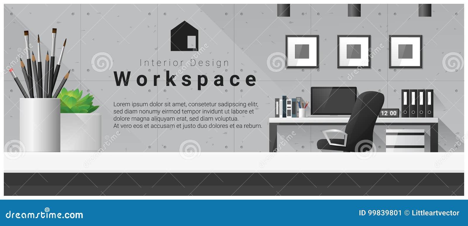 Conception intérieure avec le dessus de table et le fond moderne de lieu de travail de bureau