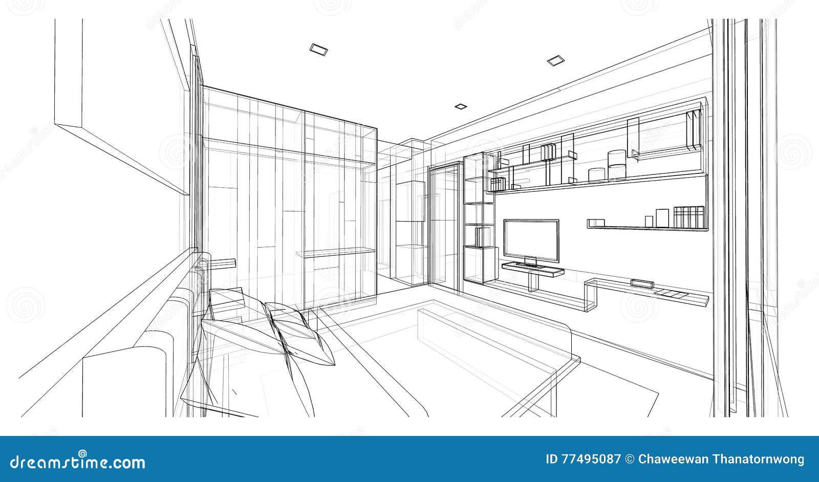 Conception Intérieure De Chambre à Coucher Moderne De Style, Croquis De  Cadre Du Fil 3D, Perspective