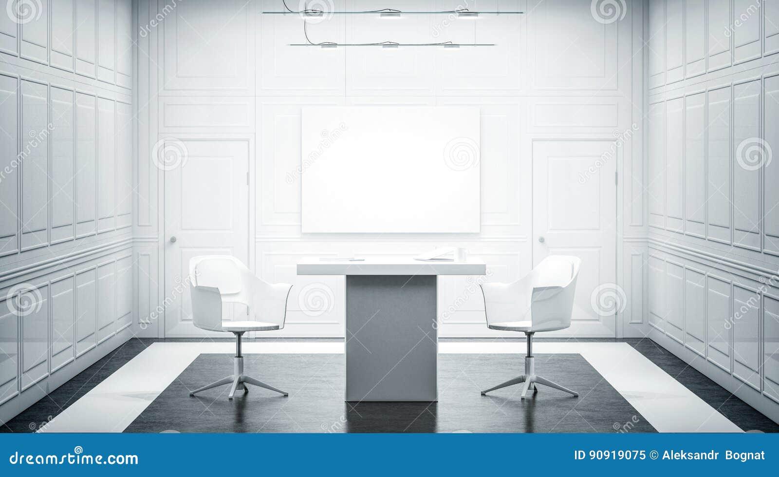 Conception intérieure de bureau de luxe blanc avec la bannière