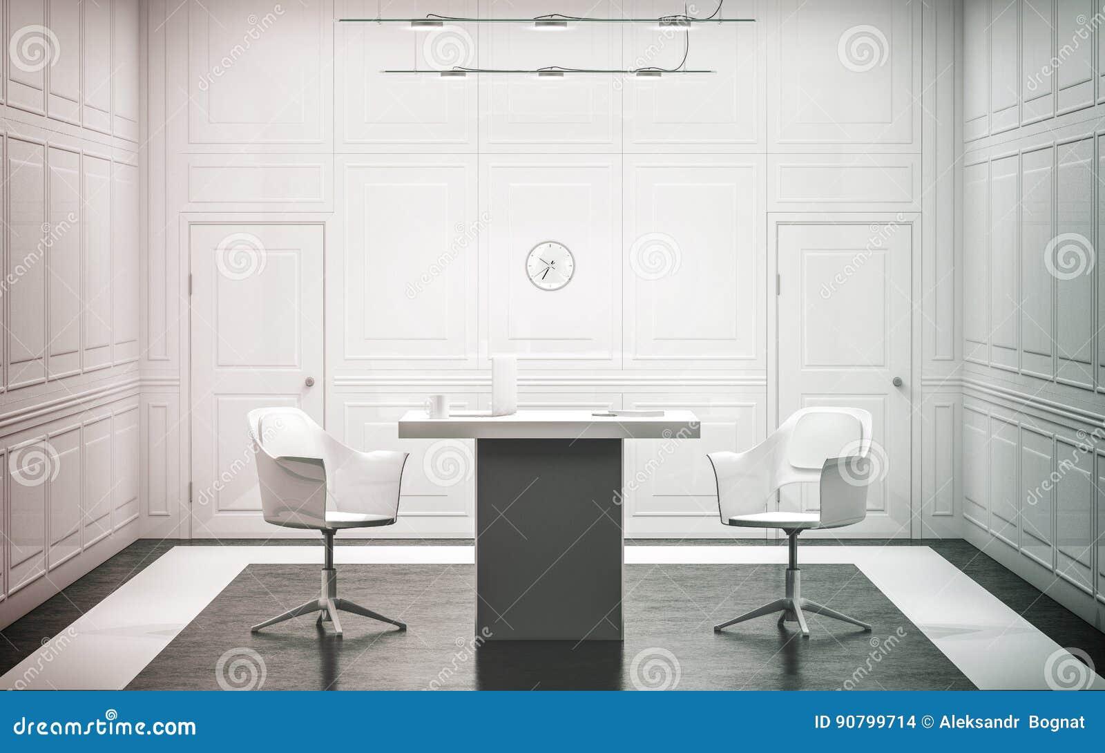 Conception intérieure de bureau de luxe blanc vide photo stock