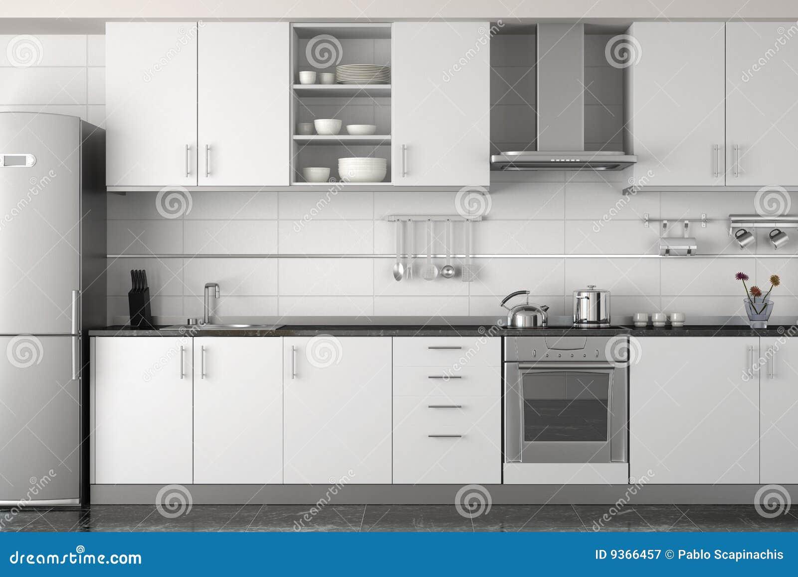 Conception int rieure de cuisine blanche moderne photographie stock libre de - Cuisine moderne blanche et noire ...