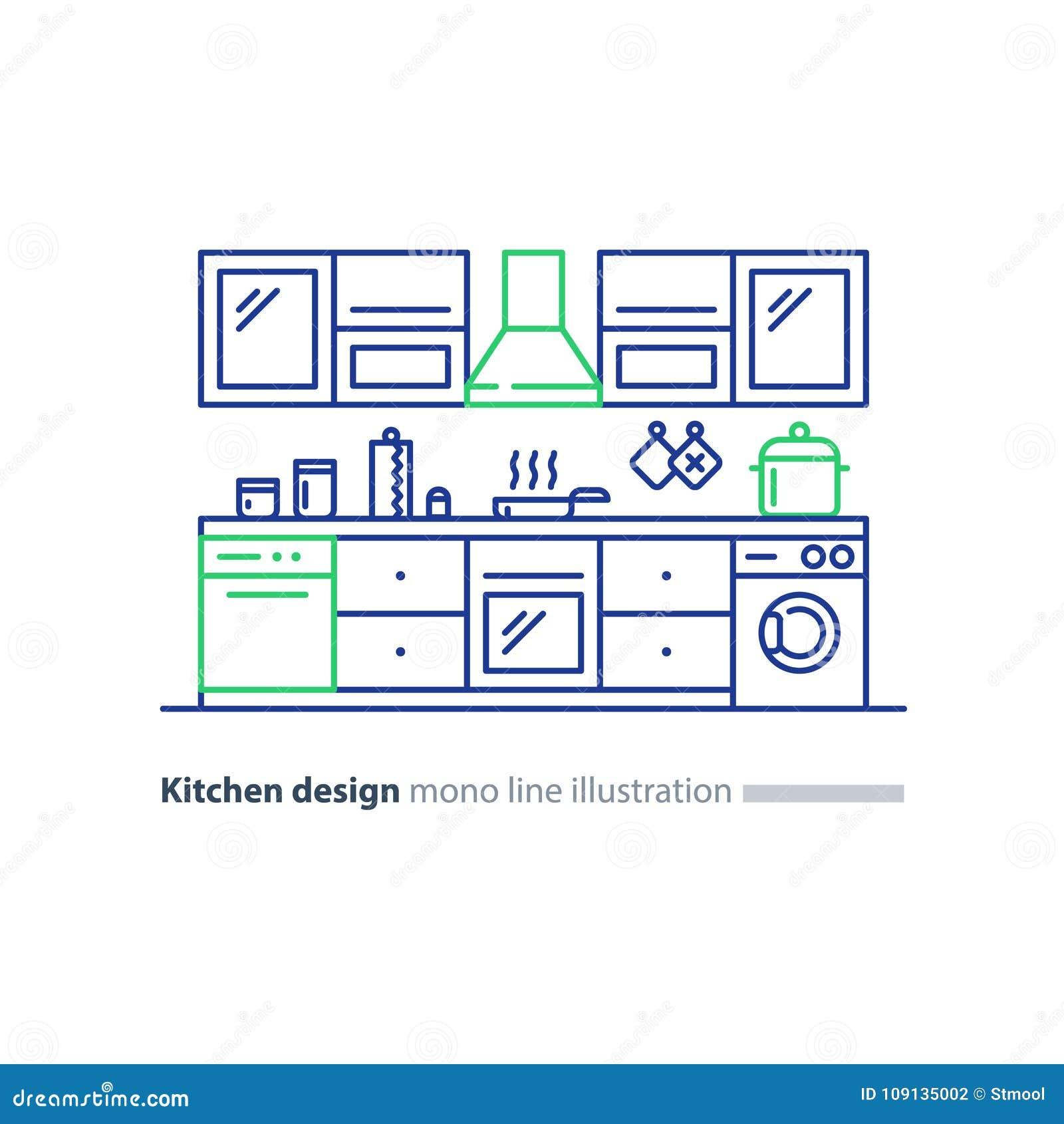 Conception intérieure de cuisine, ensemble de meubles, plan de disposition