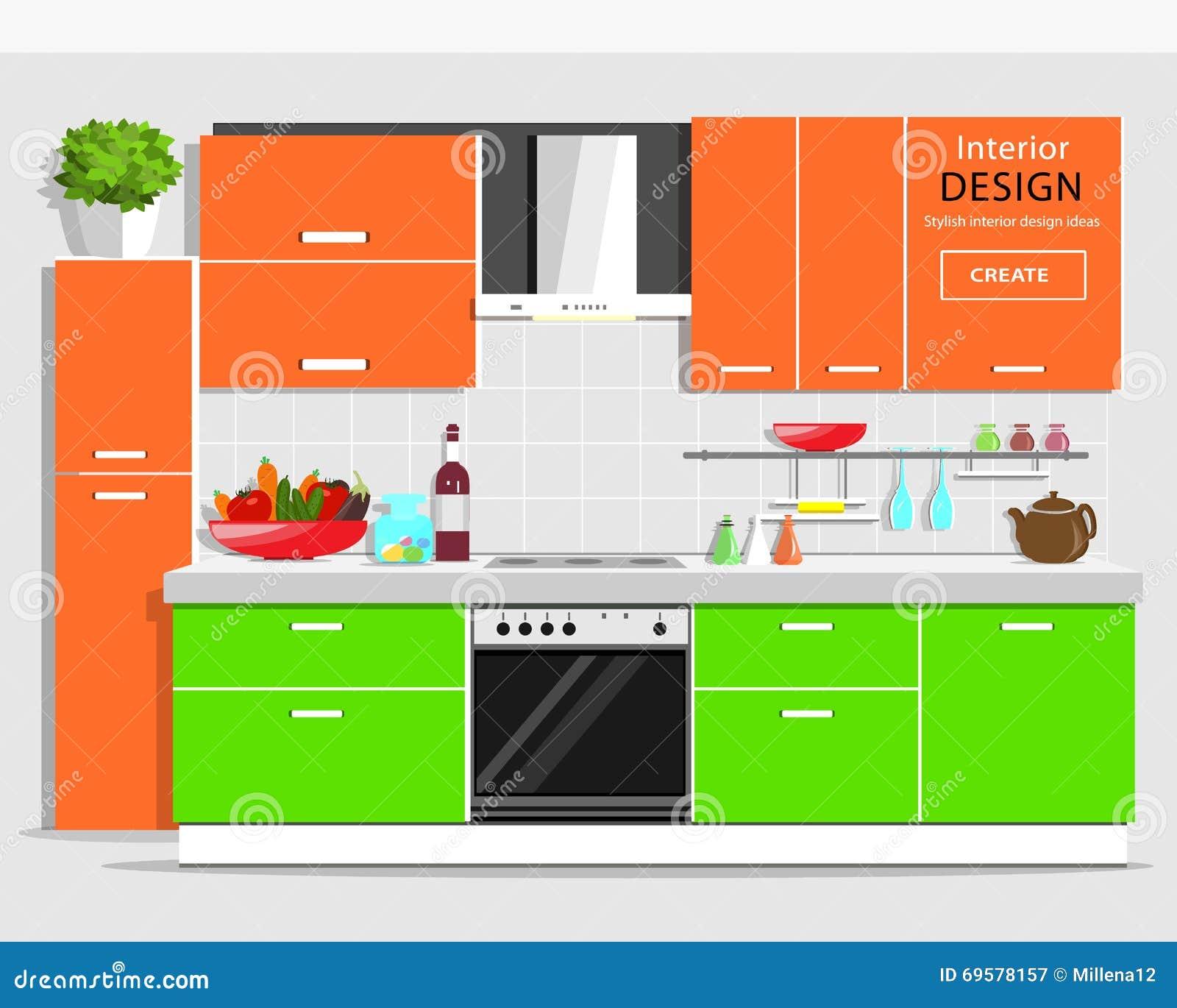 Conception Intérieure De Cuisine Graphique Moderne Cuisine Colorée ...