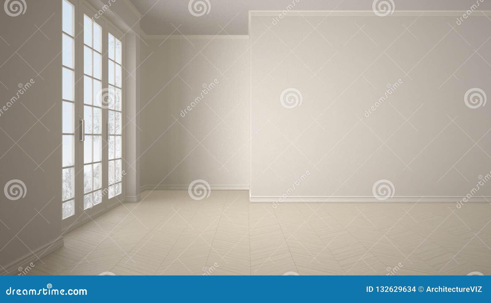 Conception intérieure de pièce vide, espace ouvert avec la grande fenêtre panoramique sur le pré d hiver avec la neige et arbres,