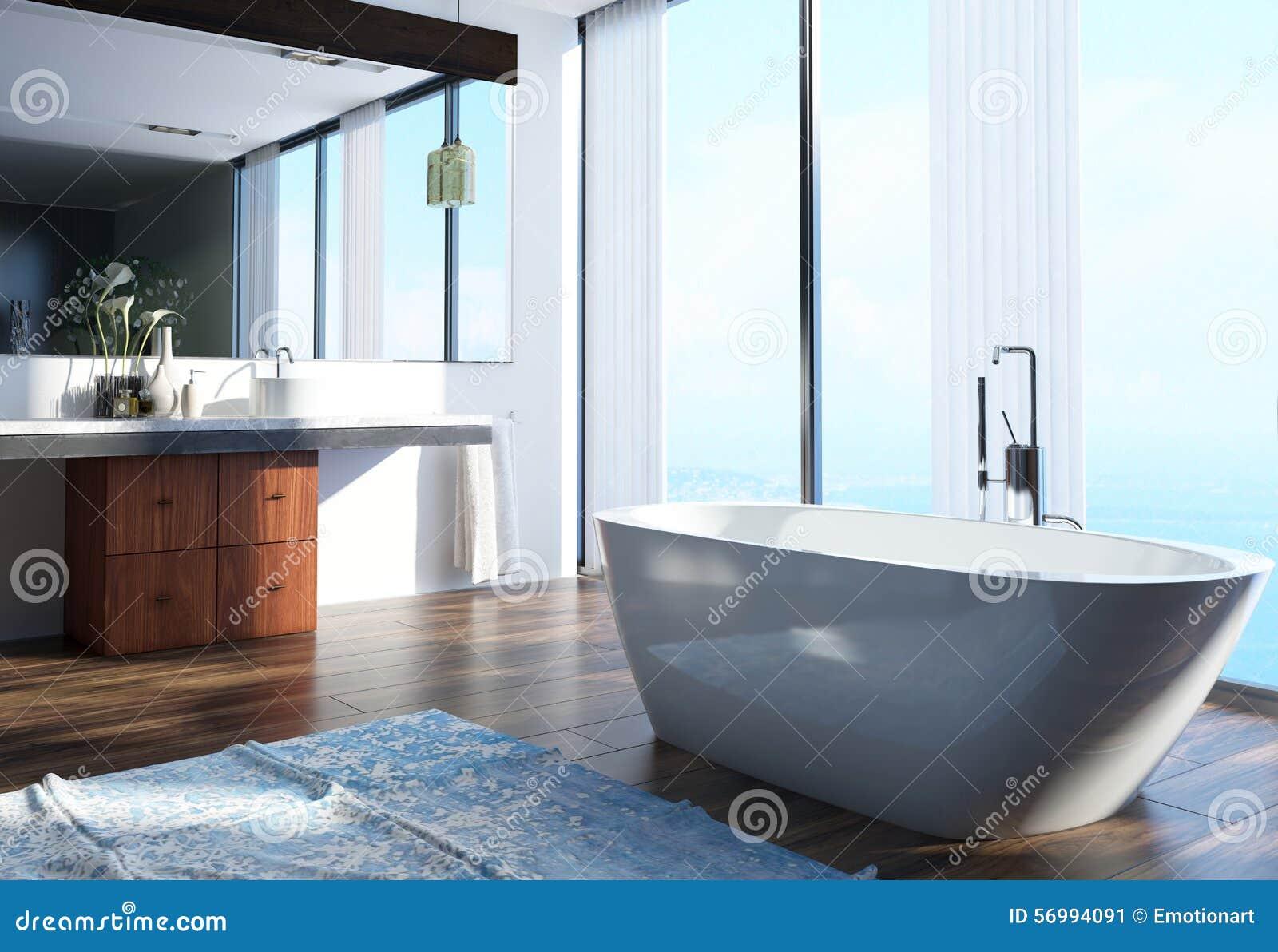 0155b6533d4cf5 Conception intérieure de salle de bains à la maison architecturale moderne  spacieuse avec la région de lavage sur le côté, la baignoire au centre et  les ...