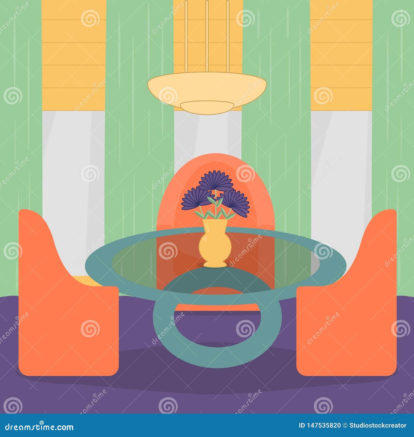 Conception intérieure de salon avec des meubles, des fauteuils, la table, la fleur, la lampe et la fenêtre