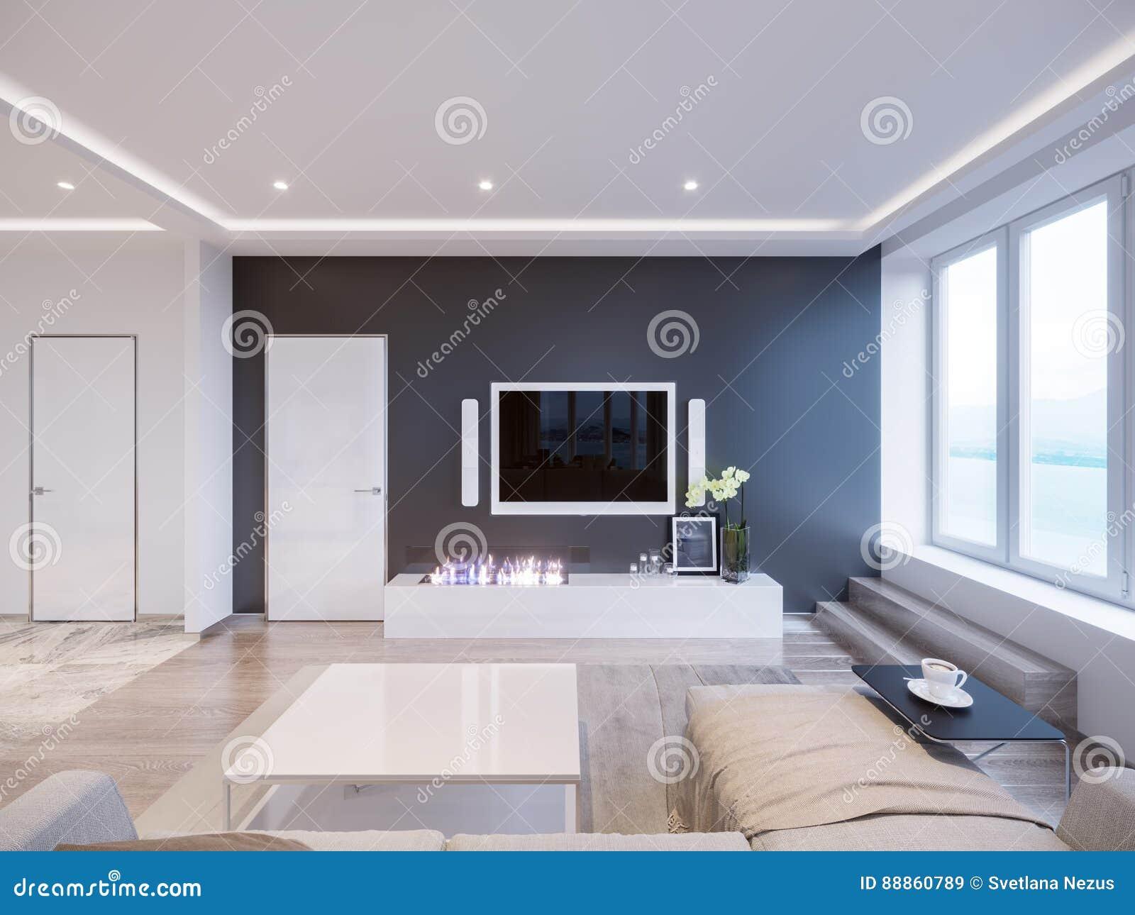 Conception Intérieure De Salon Gris Blanc Moderne Illustration Stock