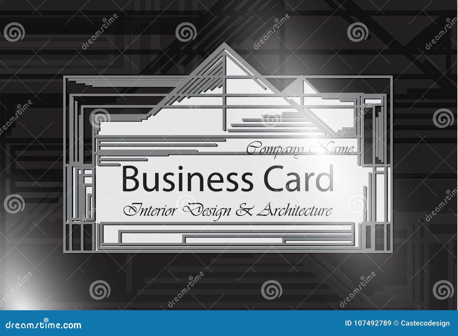 Conception Interieure Et Architecture De Carte Visite Professionnelle Couleur Noire Milieux Modernes Abstraits