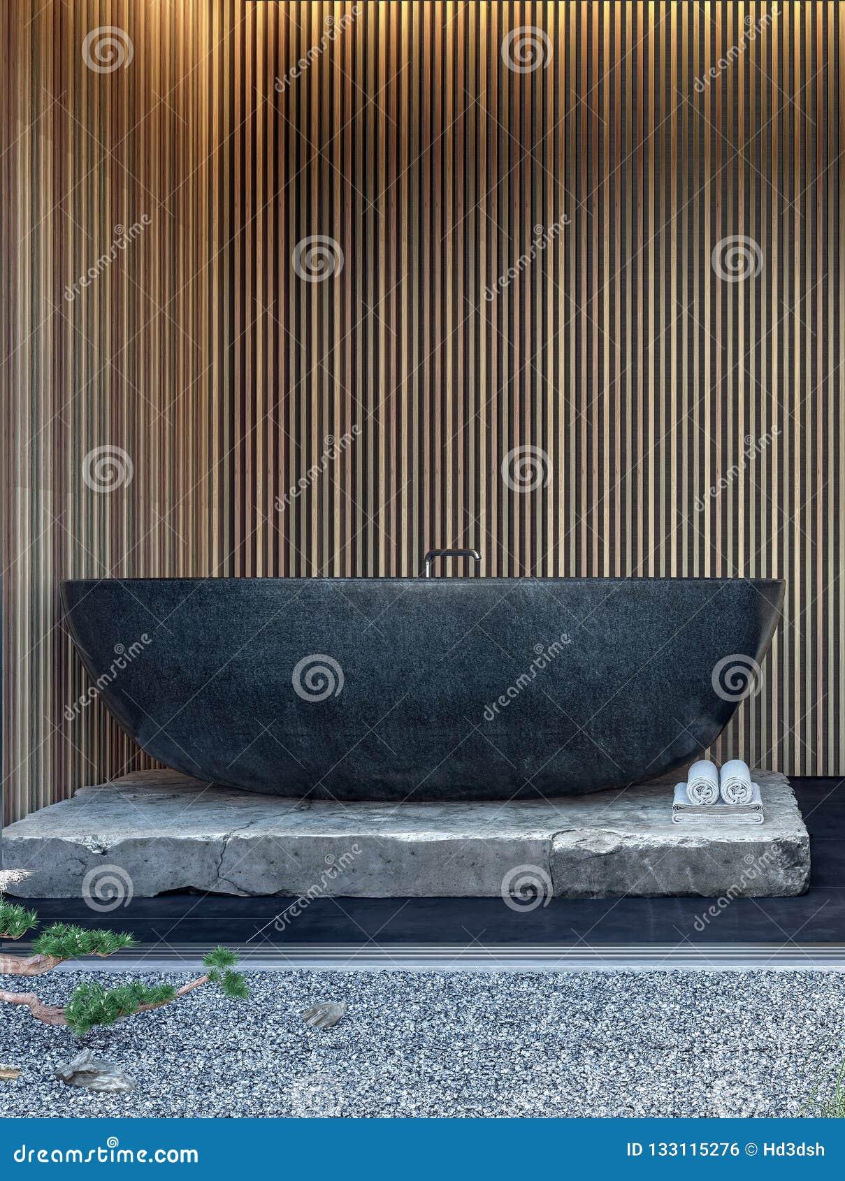 Conception intérieure moderne de salle de bains avec la baignoire de marbre noire et les panneaux de mur en bois