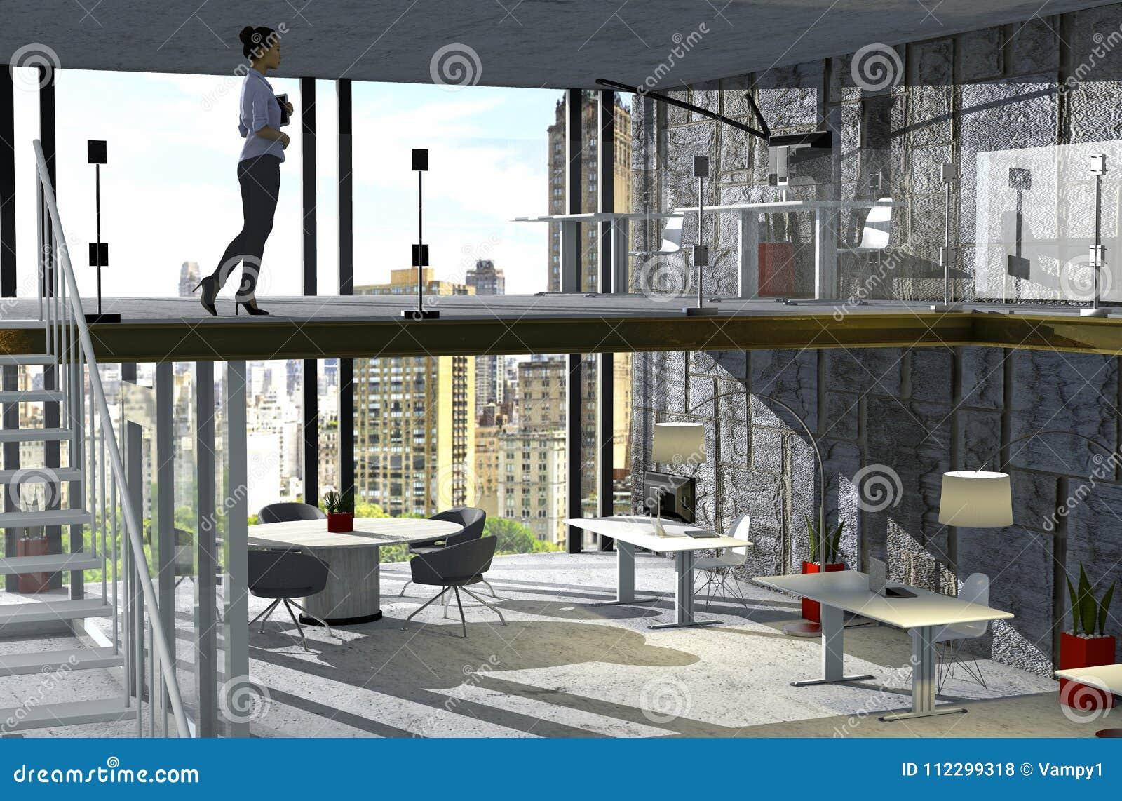 Conception intérieure pour un studio un bureau dans un grenier à l