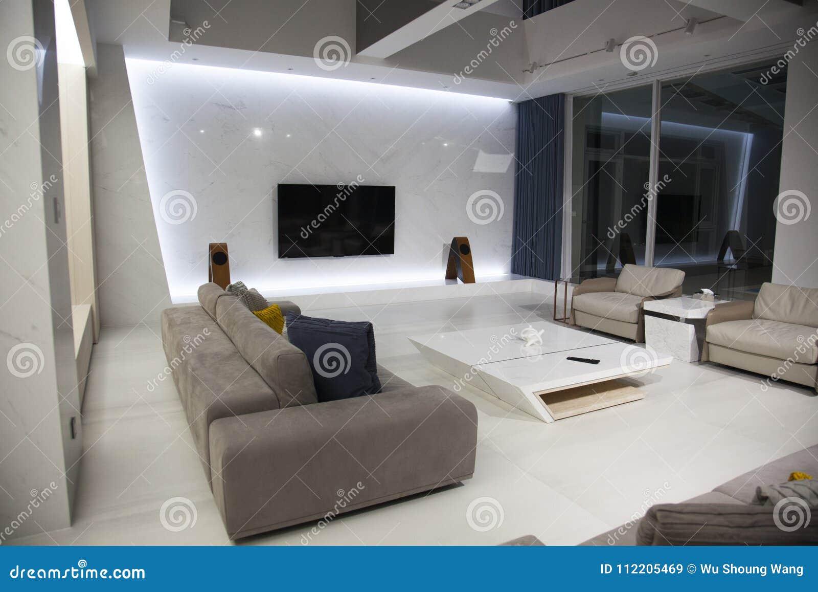 Conception Intérieure, Salon, Contemporain, Intérieur Image stock ...