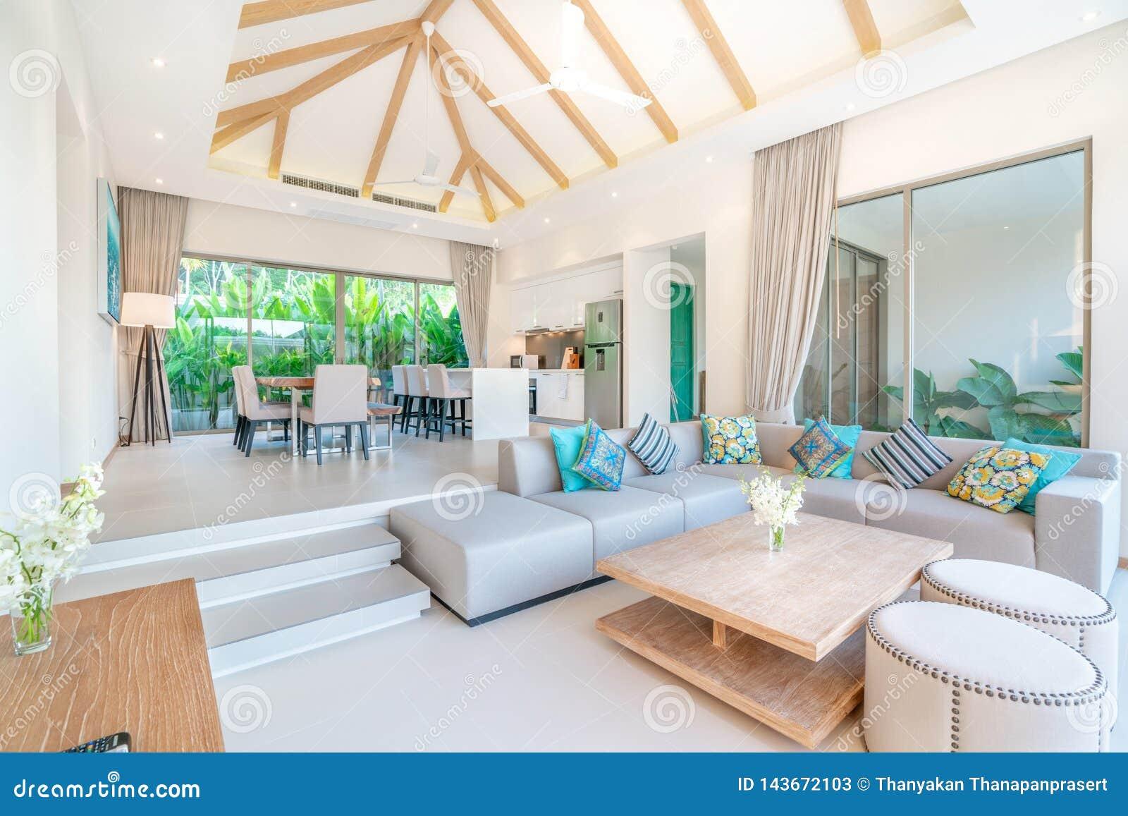 Luxury Interior Design In Living Room Of Pool Villas. Airy