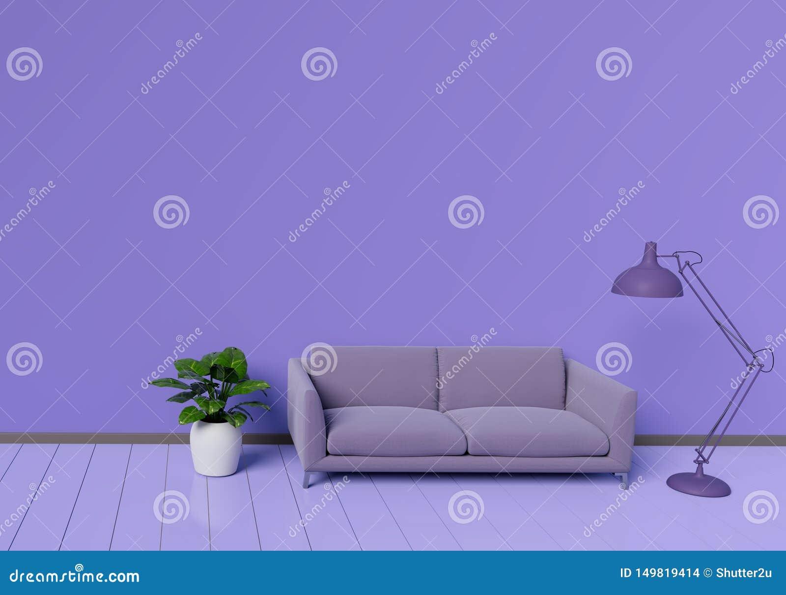 Conception int?rieure moderne de salon pourpre avec le sofa un pot d usine sur le plancher en bois brillant blanc ?l?ment de lamp