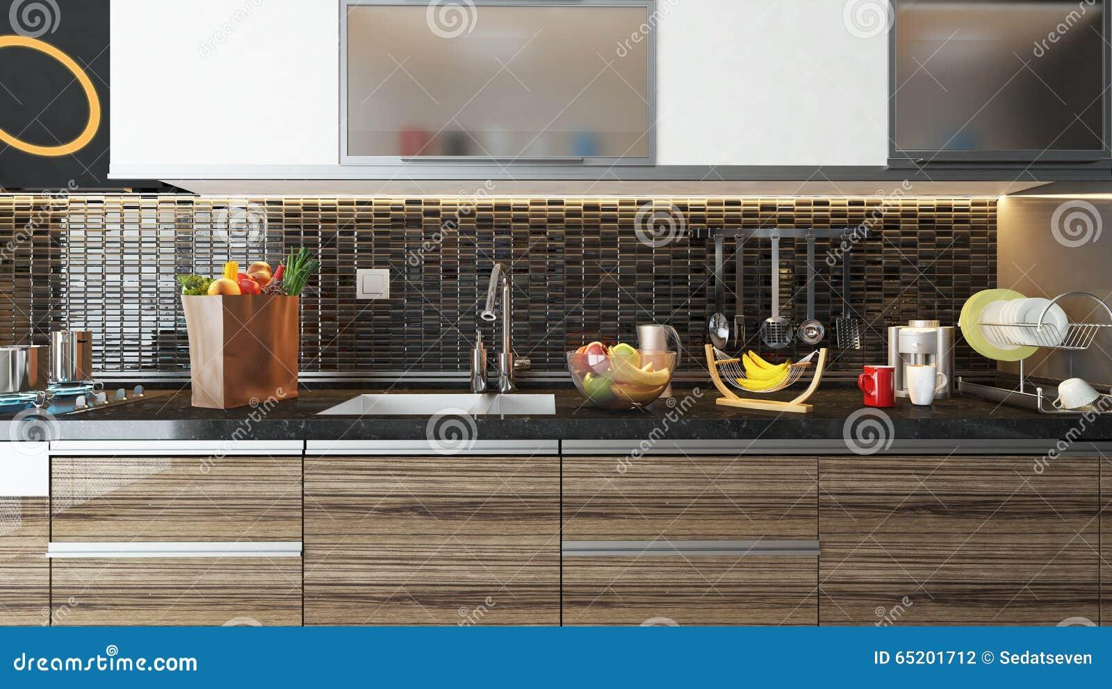 Conception intérieure de cuisine moderne avec le mur en céramique ...