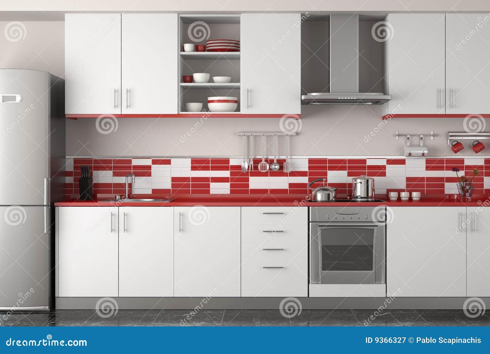 Intérieur moderne de cuisine dans la couleur blanche et rouge ...