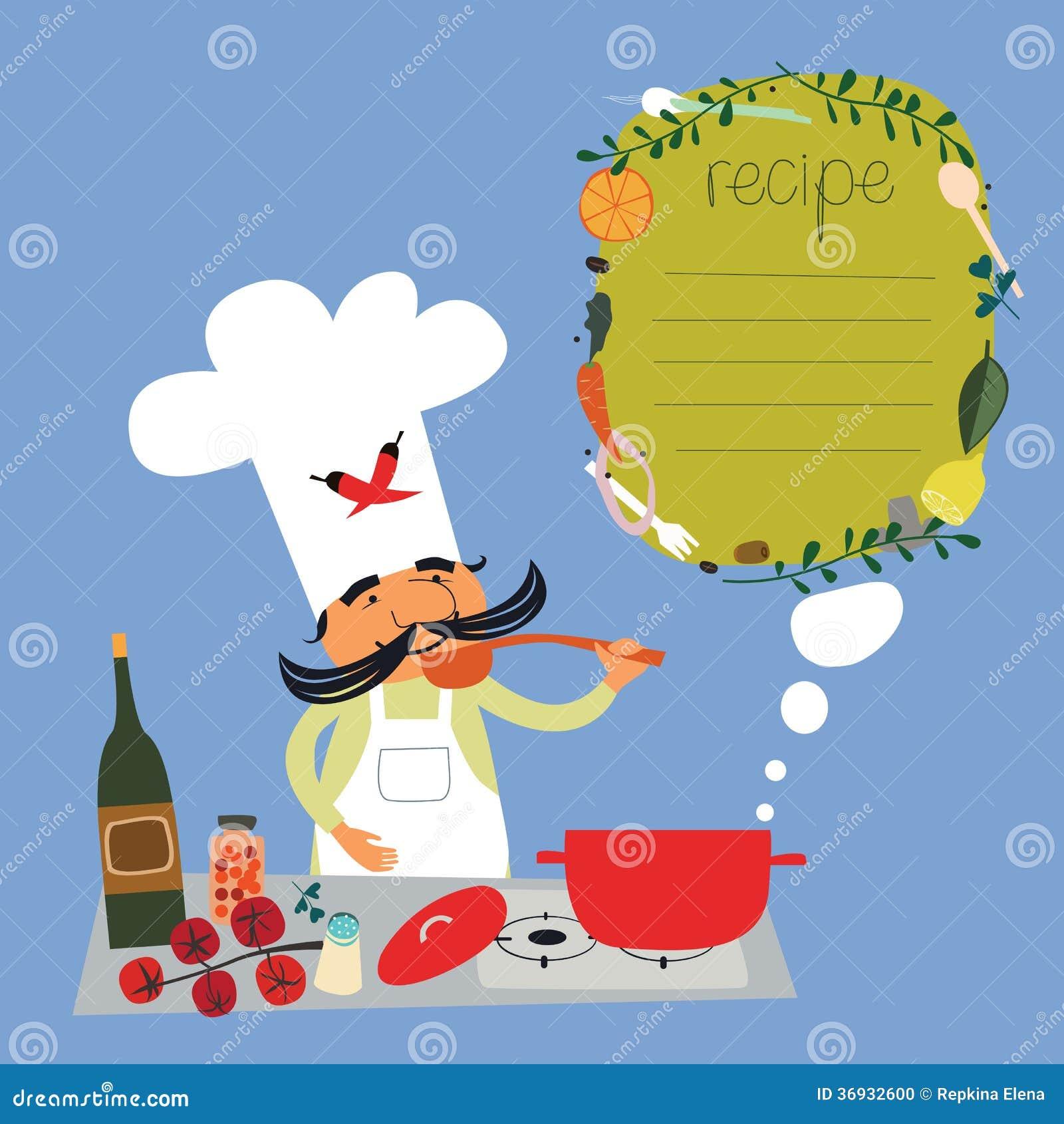 Conception italienne d 39 illustration recette de cuisinier for Cuisinier sel
