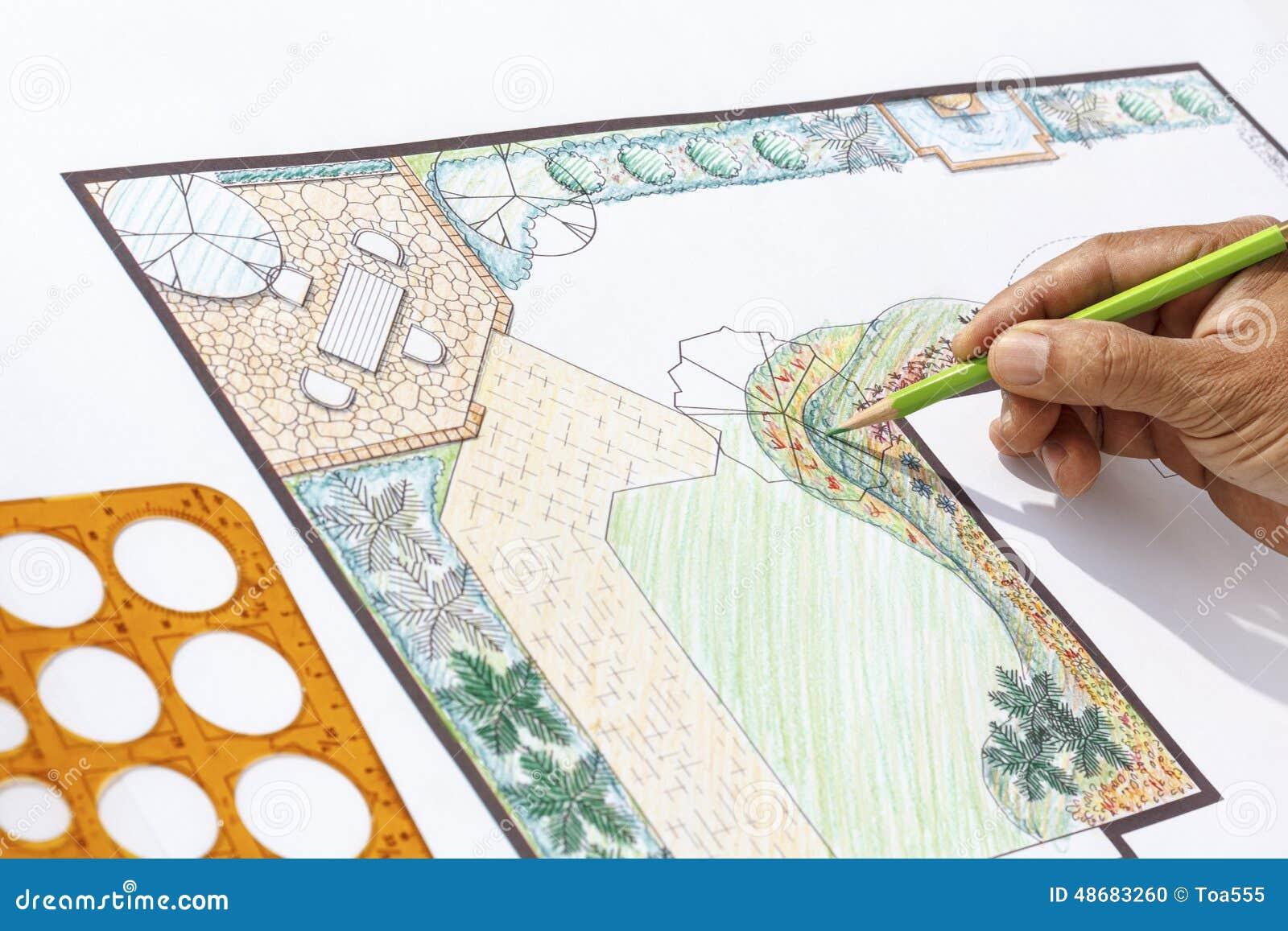 Conception l plan d 39 architecte paysagiste de jardin de for Cours de conception de jardin
