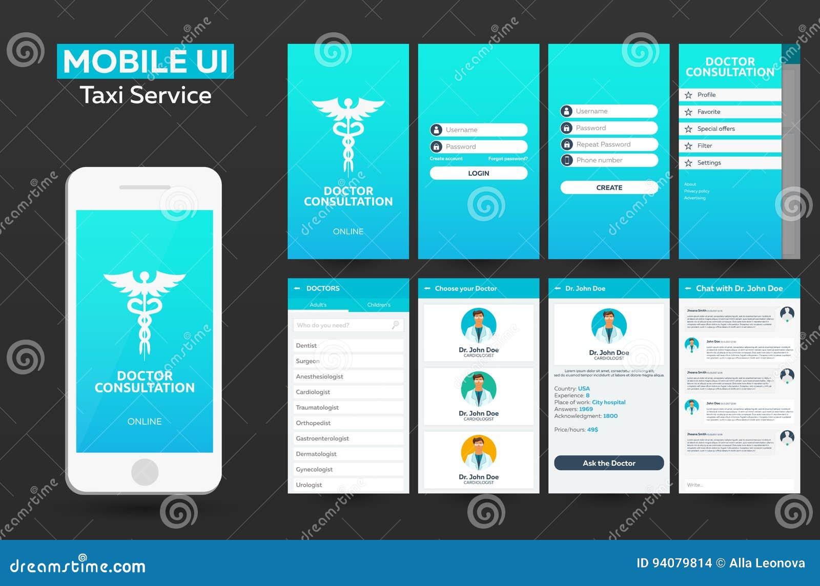 Conception matérielle en ligne UI, UX, GUI d APP de consultation mobile de docteur Site Web sensible