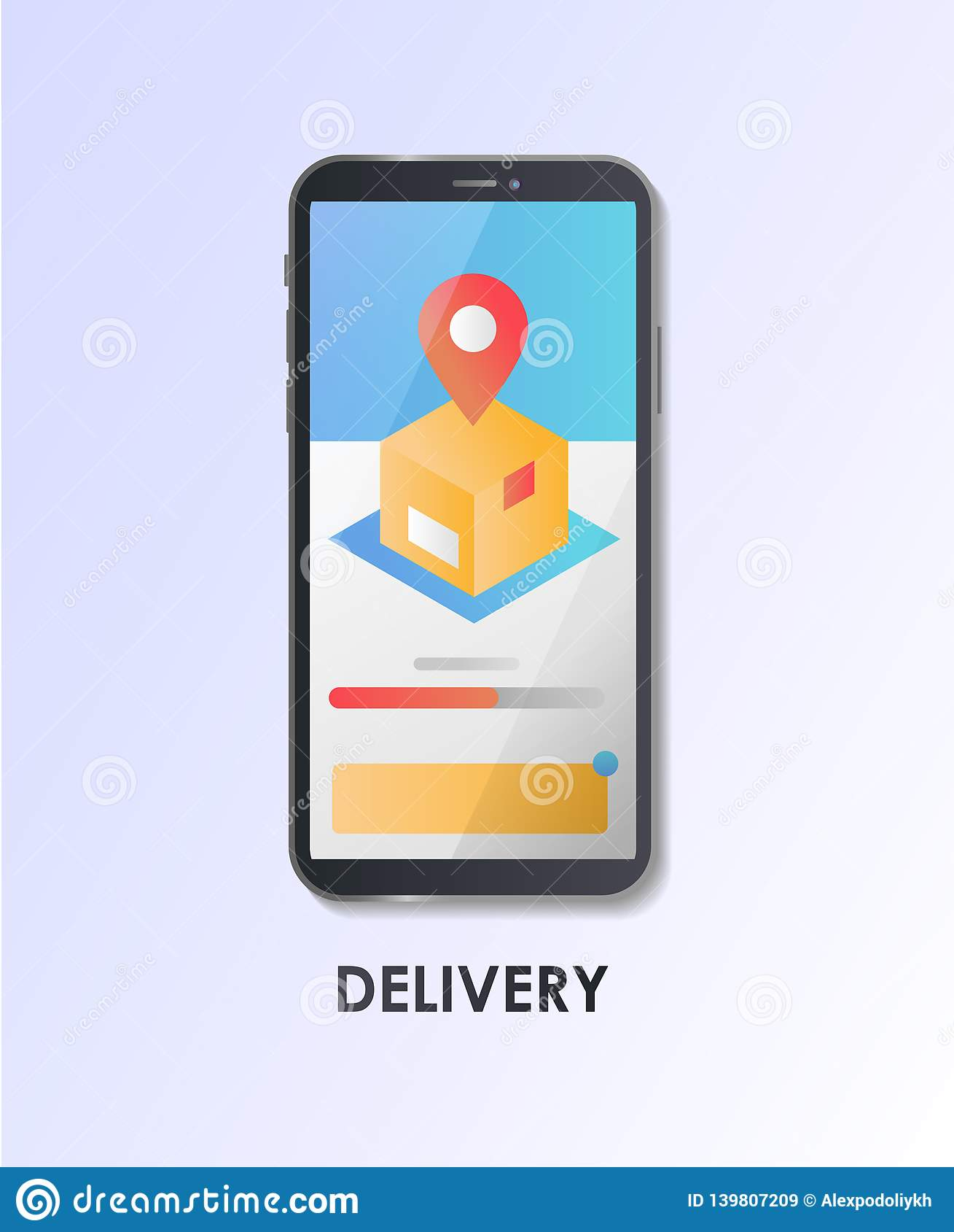 Conception matérielle UI/UX, la livraison d écran de GUI, paquet, cheminement de GPS Illustration plate de vecteur