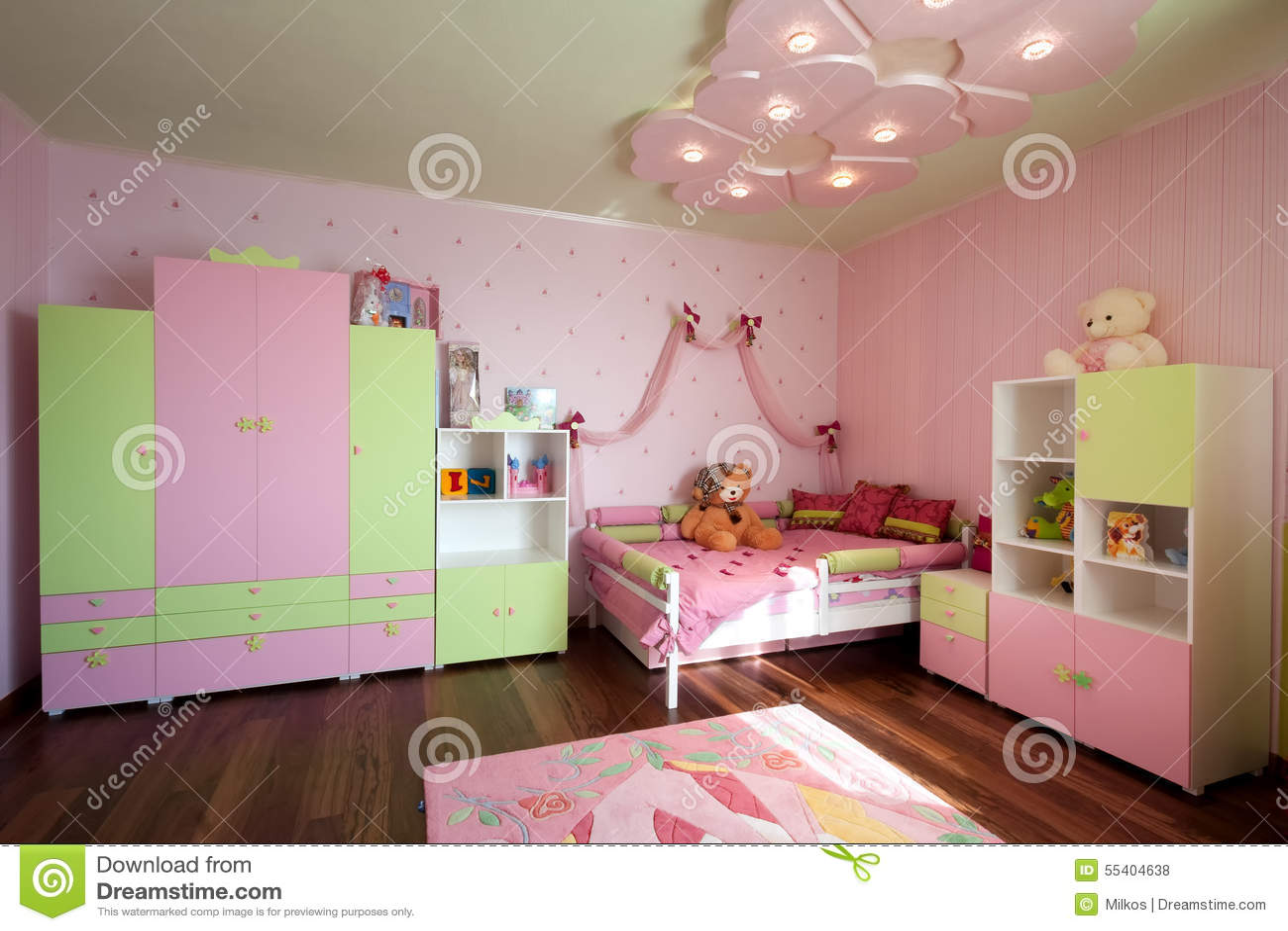 Conception moderne d 39 un int rieur de chambre d 39 enfant dans des couleurs en pastel p pini re for Conception chambre