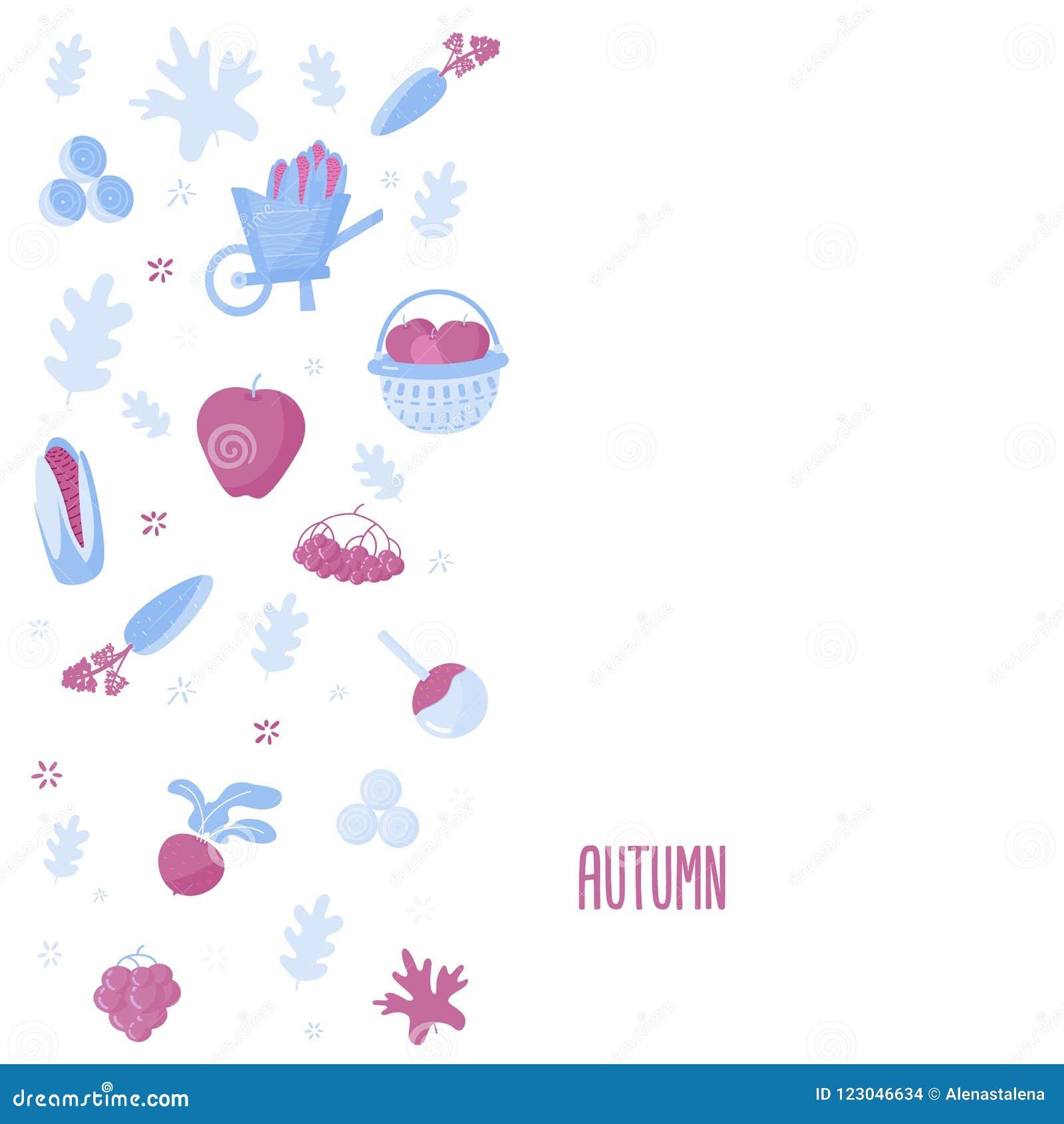 Conception moderne de bannière de récolte avec des objets d automne Illustration de vecteur