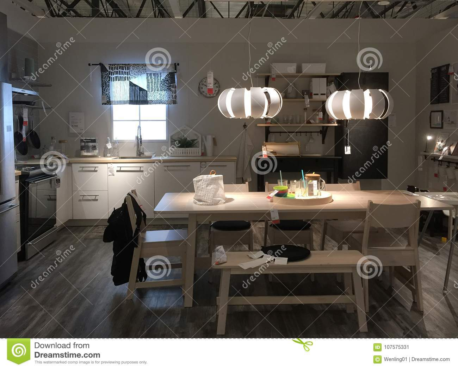 Conception Moderne De Cuisine Au Magasin Ikea Photo Editorial